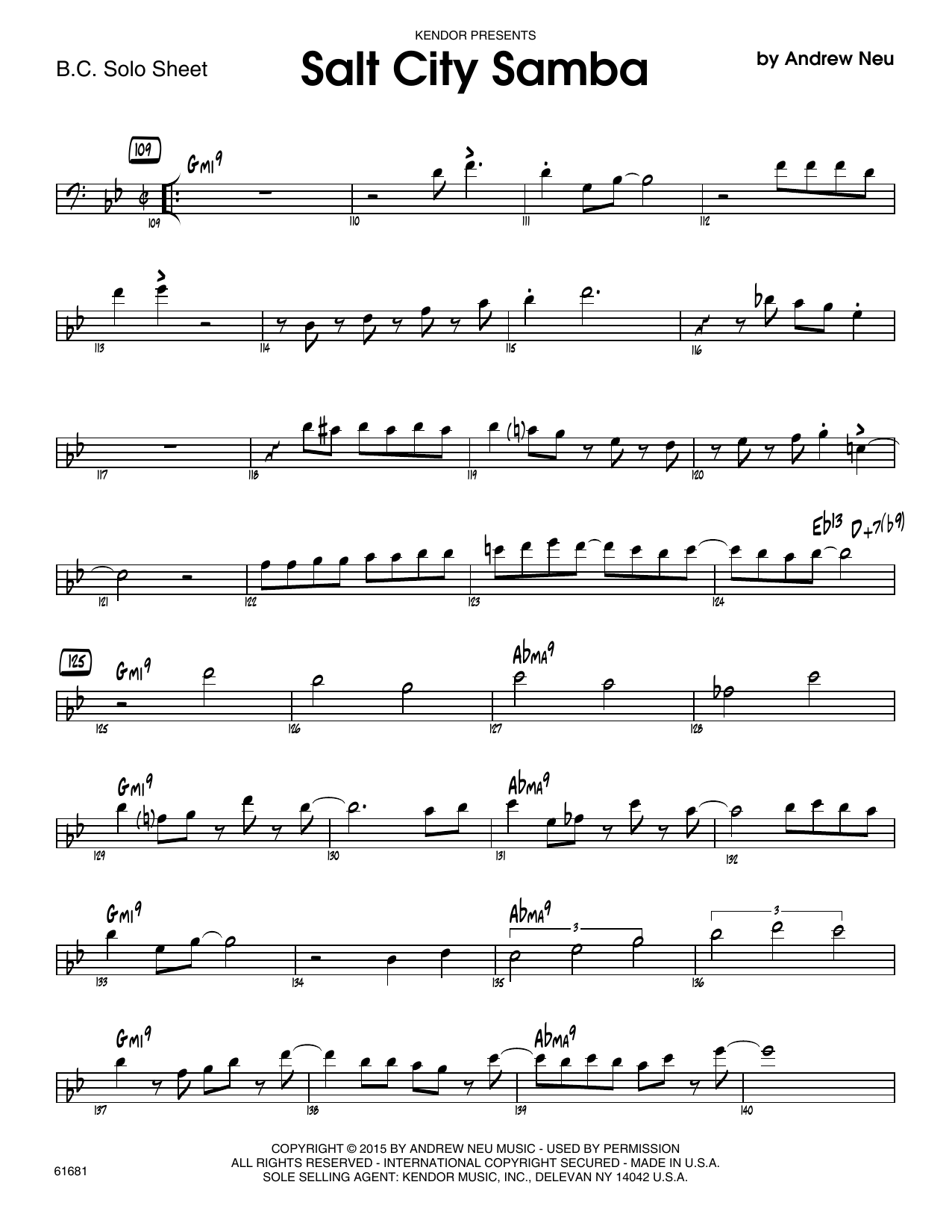 Salt City Samba - Solo Sheet - Trombone