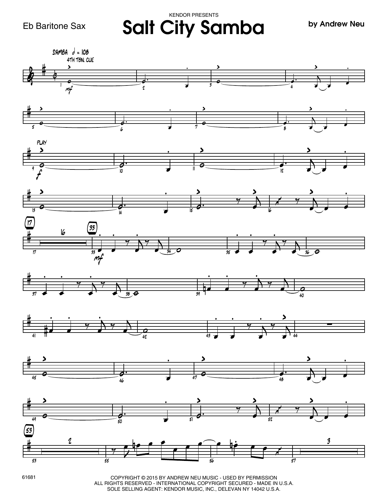 Salt City Samba - Eb Baritone Saxophone