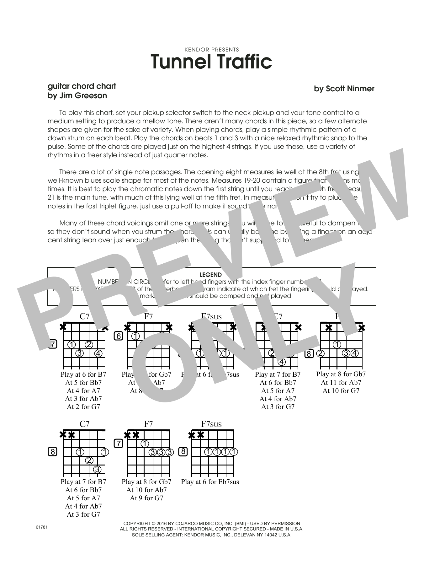Tunnel Traffic - Guitar Chord Chart