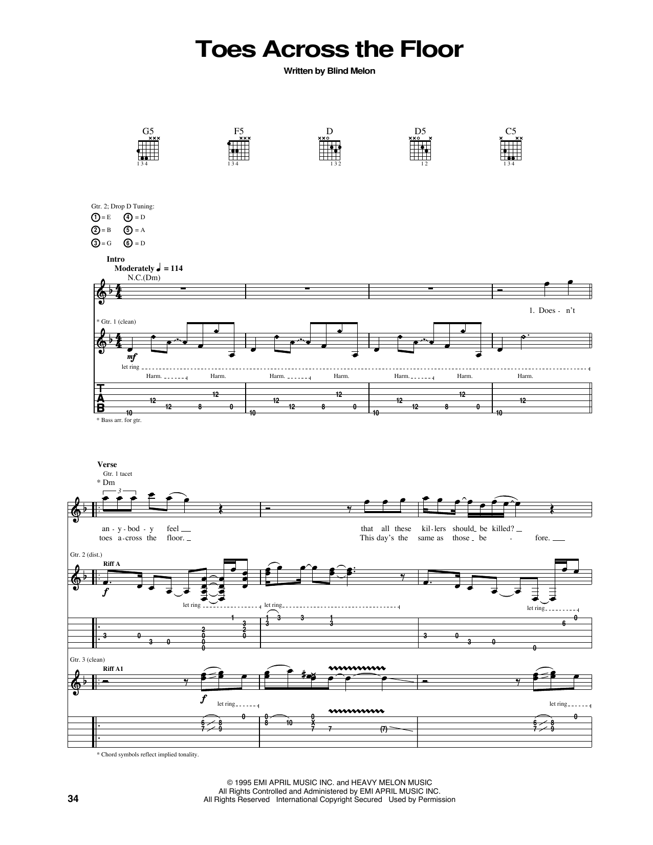 Tablature guitare Toes Across The Floor de Blind Melon - Tablature Guitare