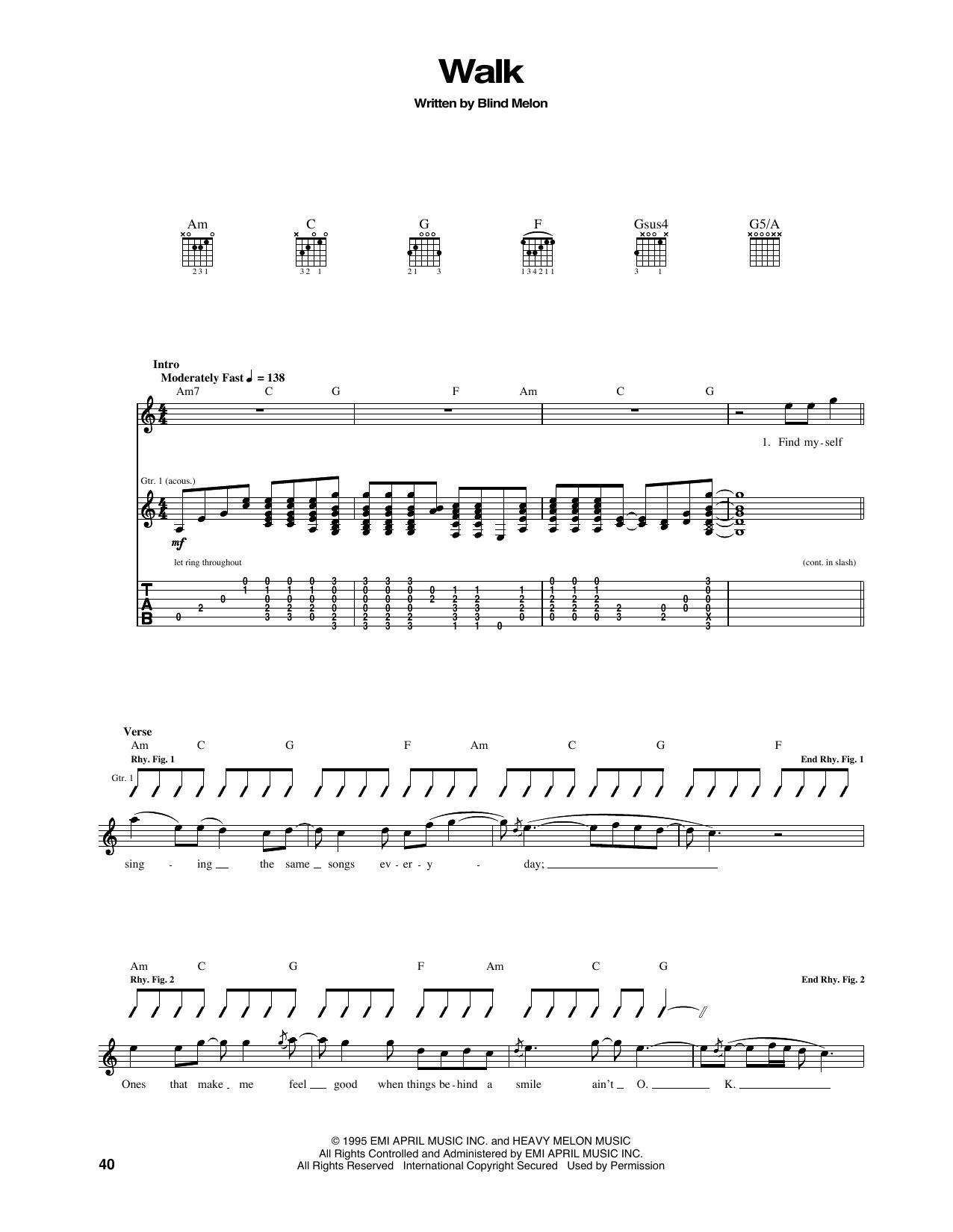 Tablature guitare Walk de Blind Melon - Tablature Guitare