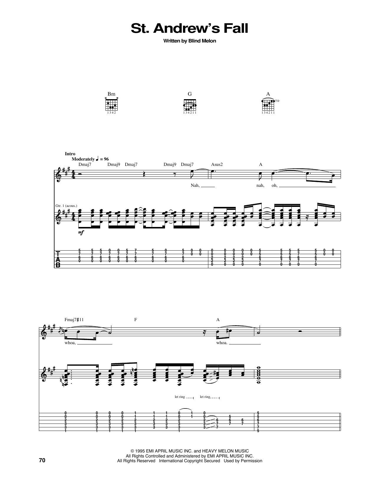 Tablature guitare St. Andrew's Fall de Blind Melon - Tablature Guitare