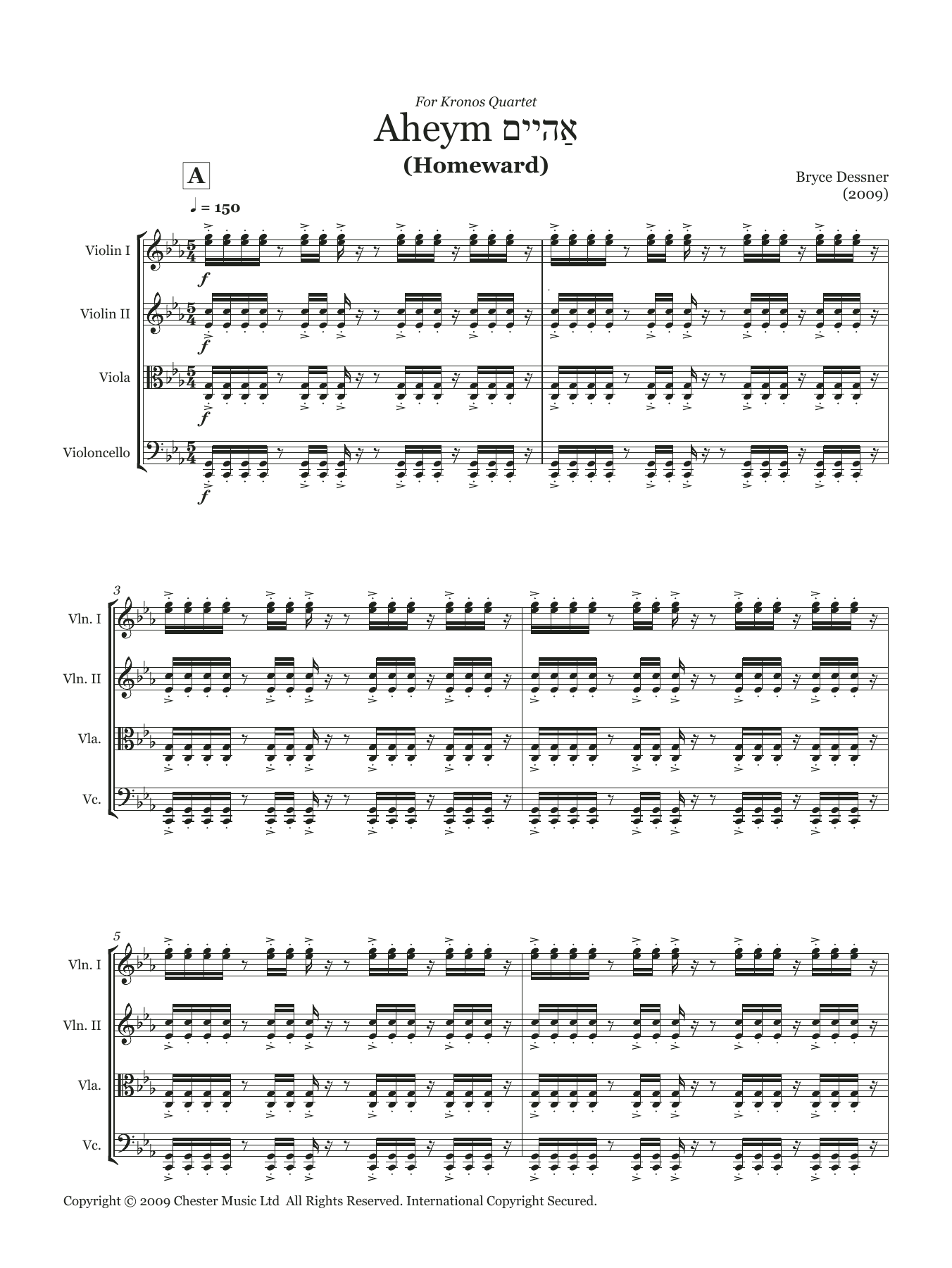 Bryce Dessner - Aheym (String quartet score & parts)