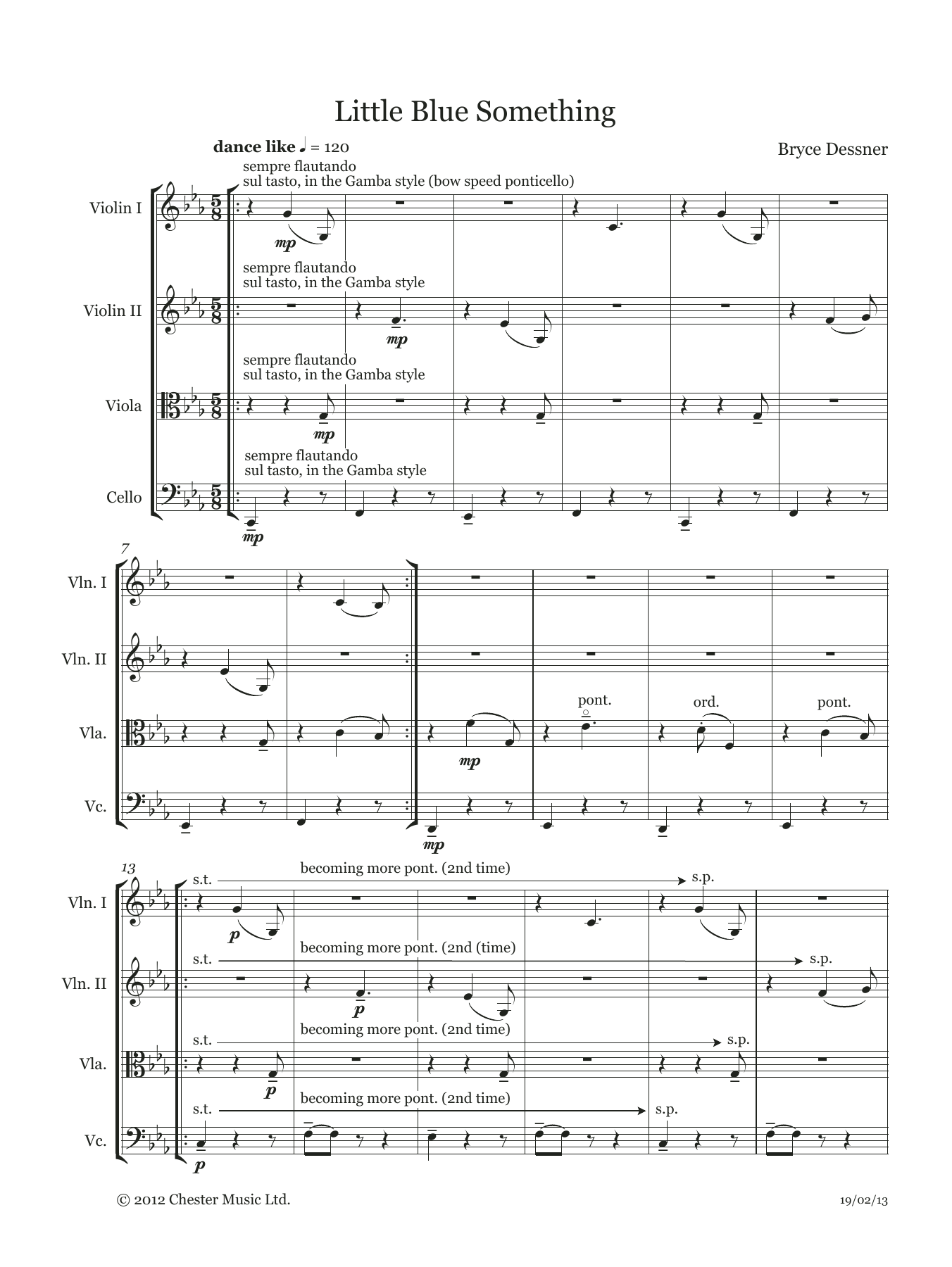 Bryce Dessner - Little Blue Something (String quartet score & parts)