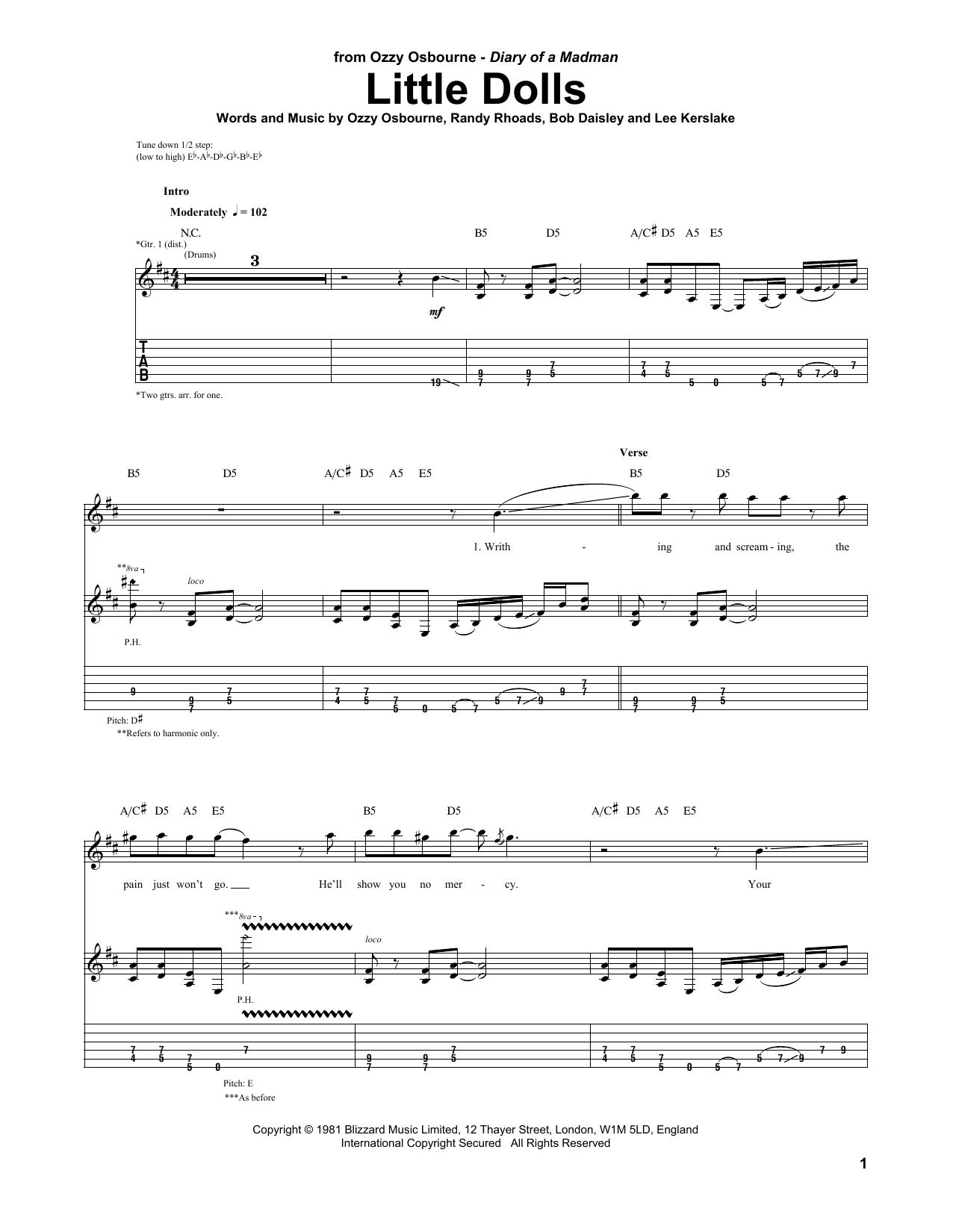Tablature guitare Little Dolls de Ozzy Osbourne - Tablature Guitare