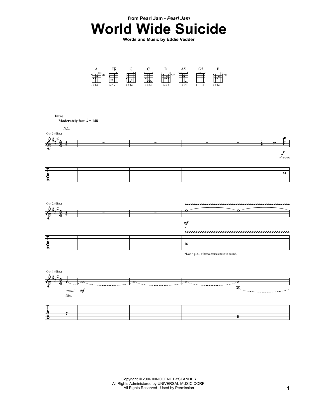 Tablature guitare World Wide Suicide de Pearl Jam - Tablature Guitare