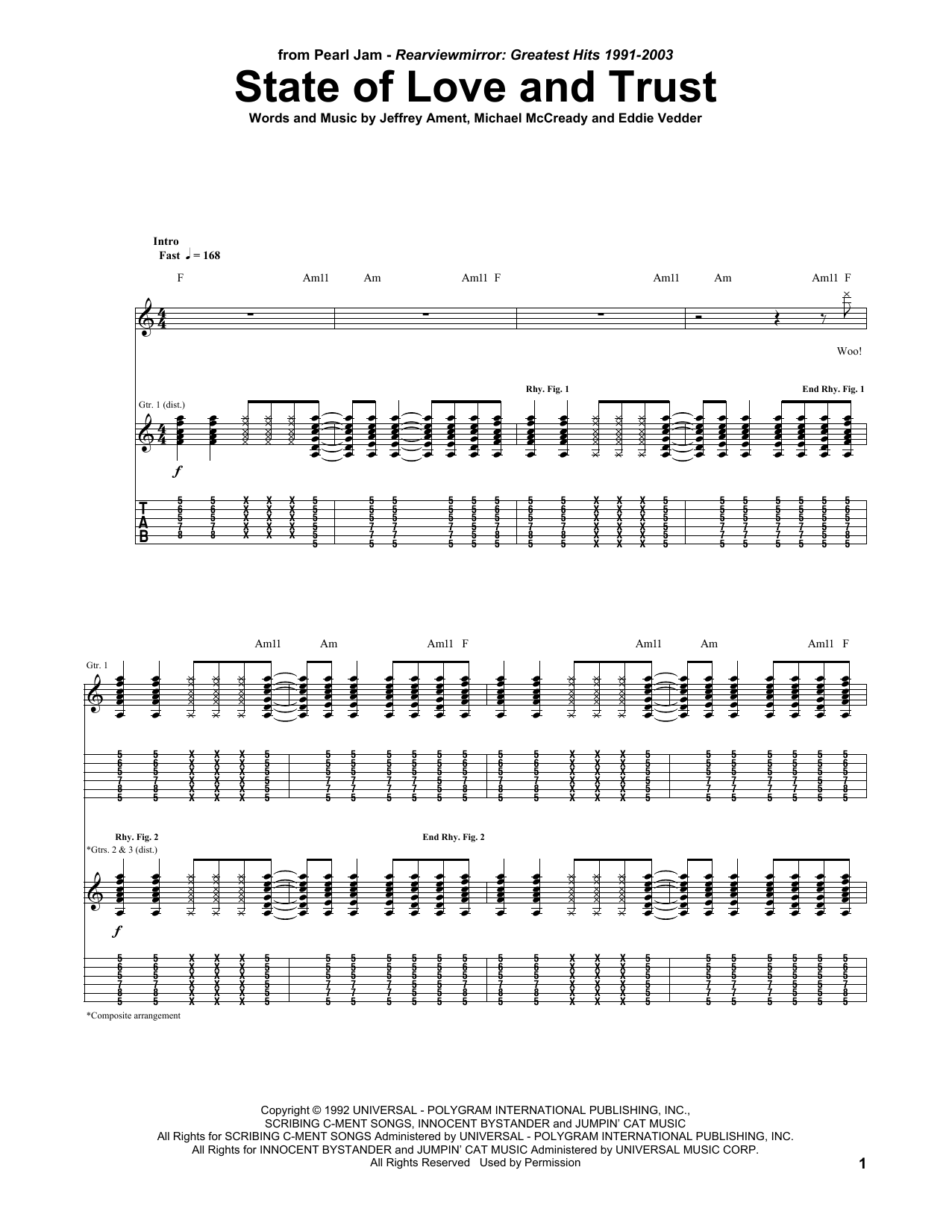 Tablature guitare State Of Love And Trust de Pearl Jam - Tablature Guitare