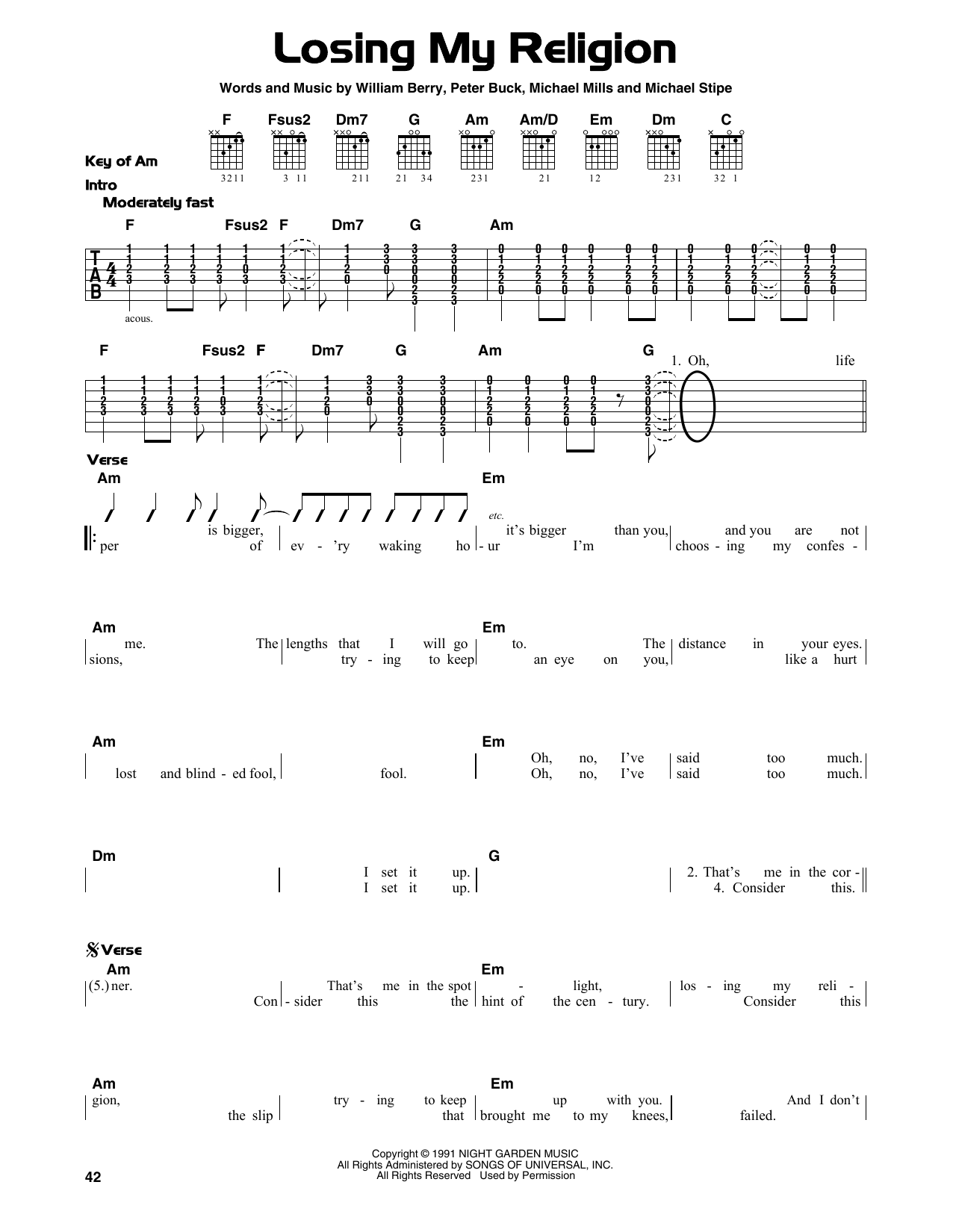 Rem losing my religion sheet music at stantons sheet music format lead sheets hexwebz Images