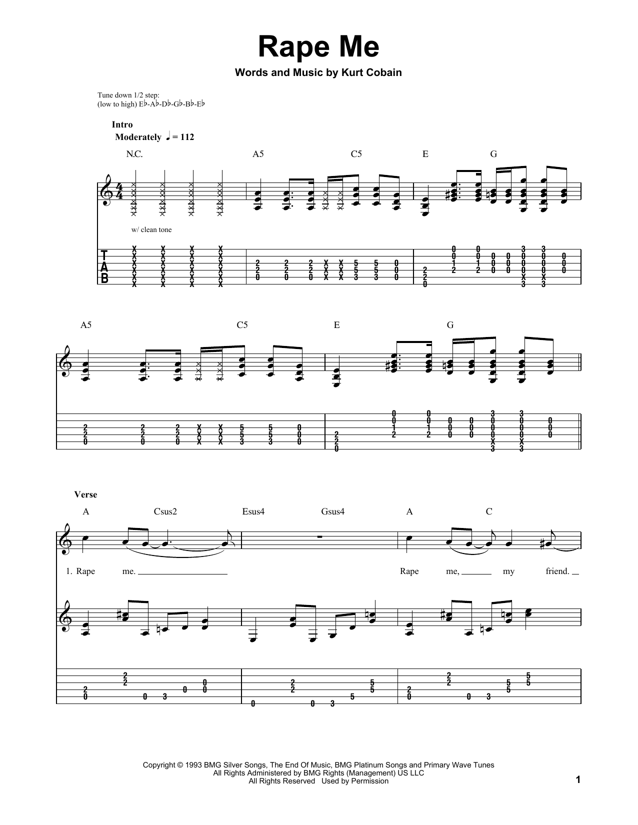 Tablature guitare Rape Me de Nirvana - Tablature guitare facile