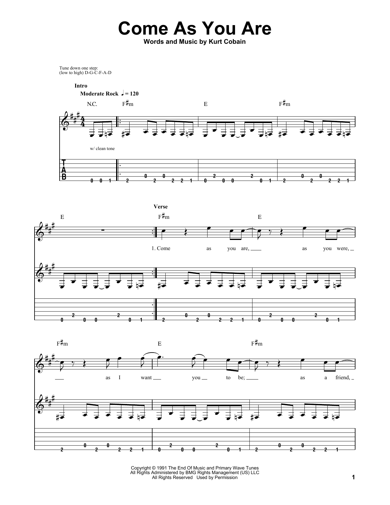 Tablature guitare Come As You Are de Nirvana - Tablature guitare facile