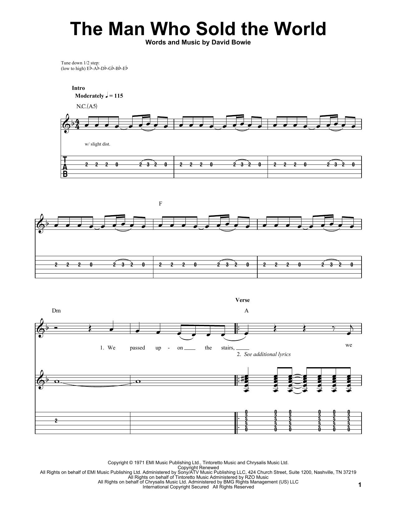 Tablature guitare The Man Who Sold The World de Nirvana - Tablature guitare facile