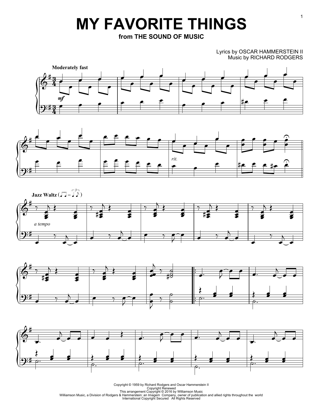 Partition piano My Favorite Things de Oscar Hammerstein II - Piano Solo