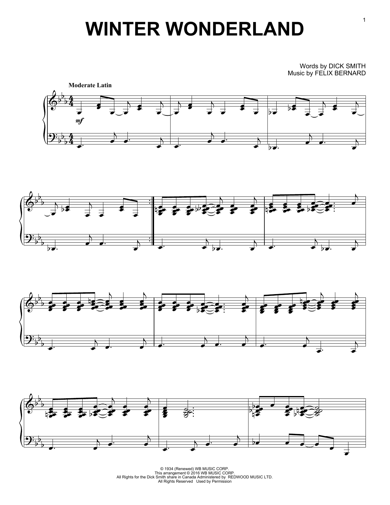Partition piano Winter Wonderland de Dick Smith - Piano Solo