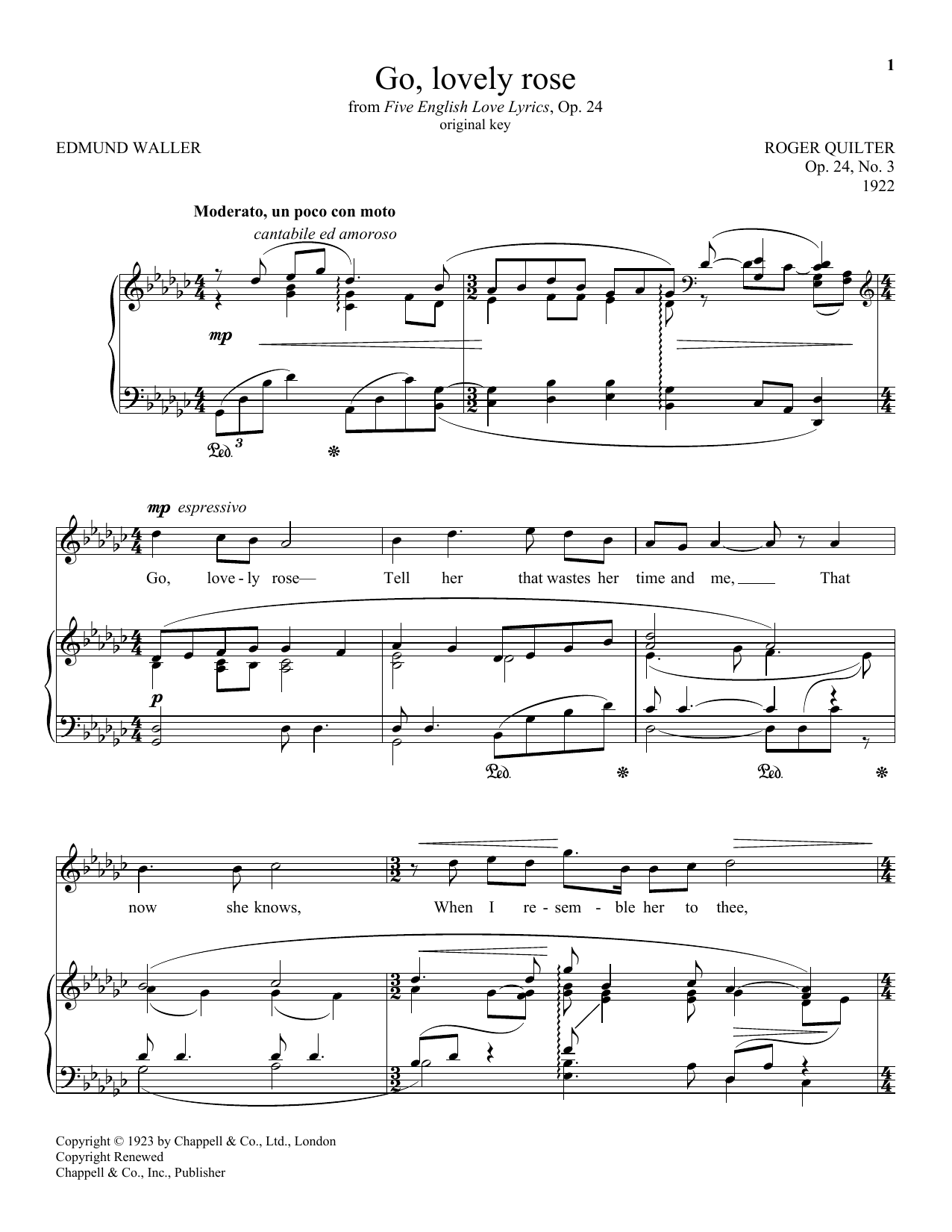Partition piano Go, Lovely Rose (Quilter) de Edmund Waller - Piano Voix