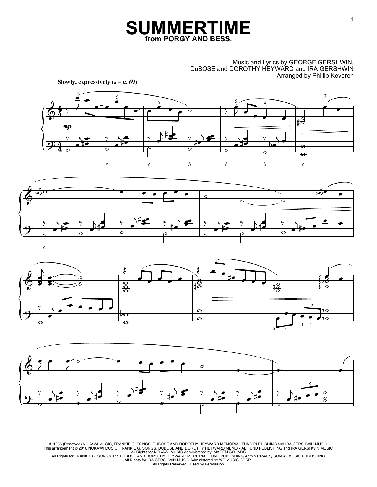 Partition piano Summertime de George Gershwin - Piano Solo