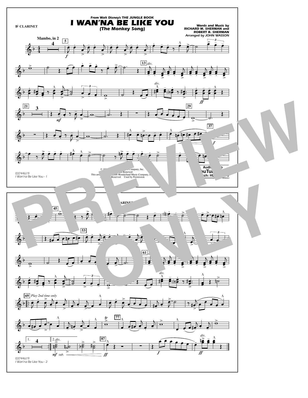 Robert B. Sherman - I Wan'na Be Like You - Bb Clarinet