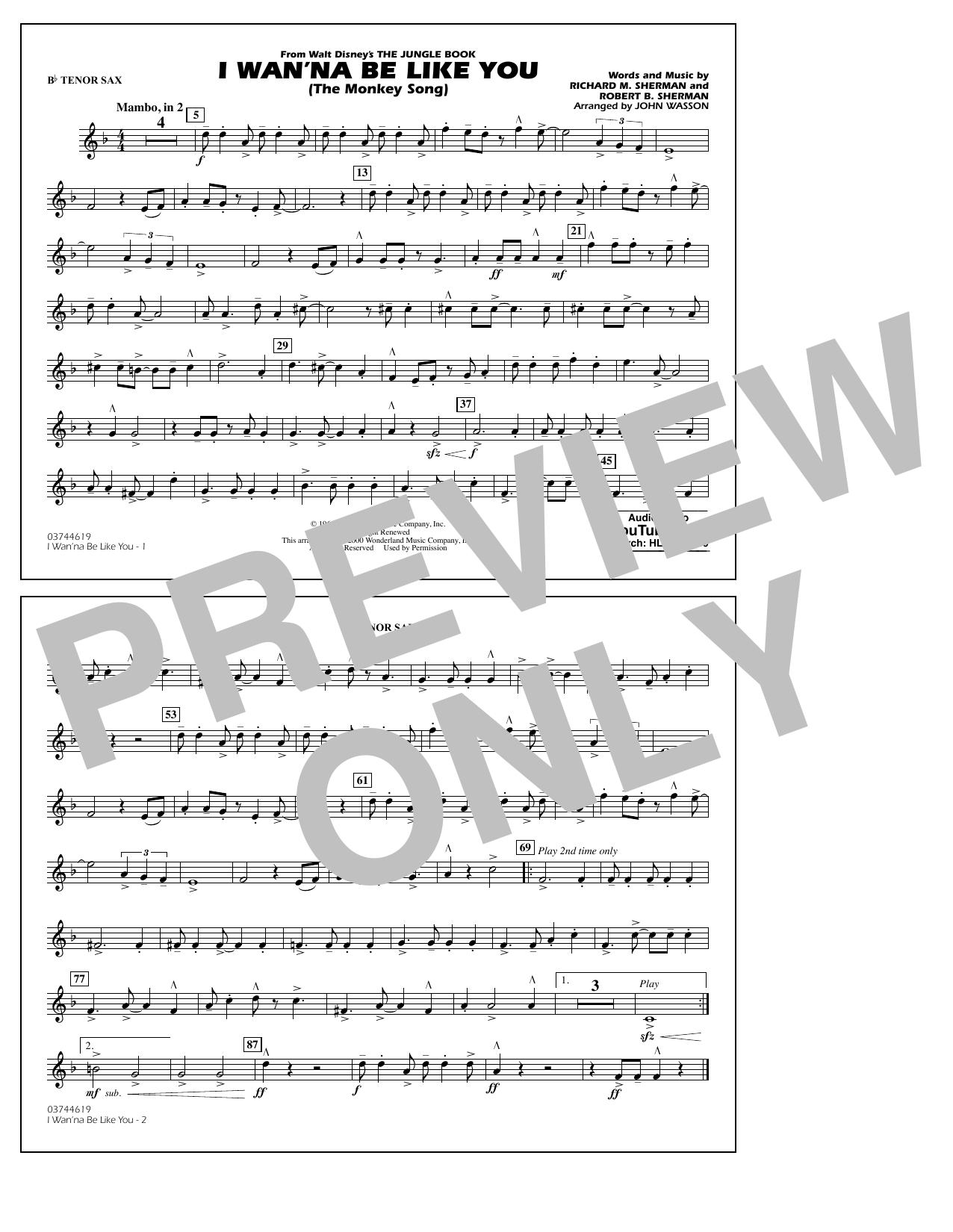 Robert B. Sherman - I Wan'na Be Like You - Bb Tenor Sax