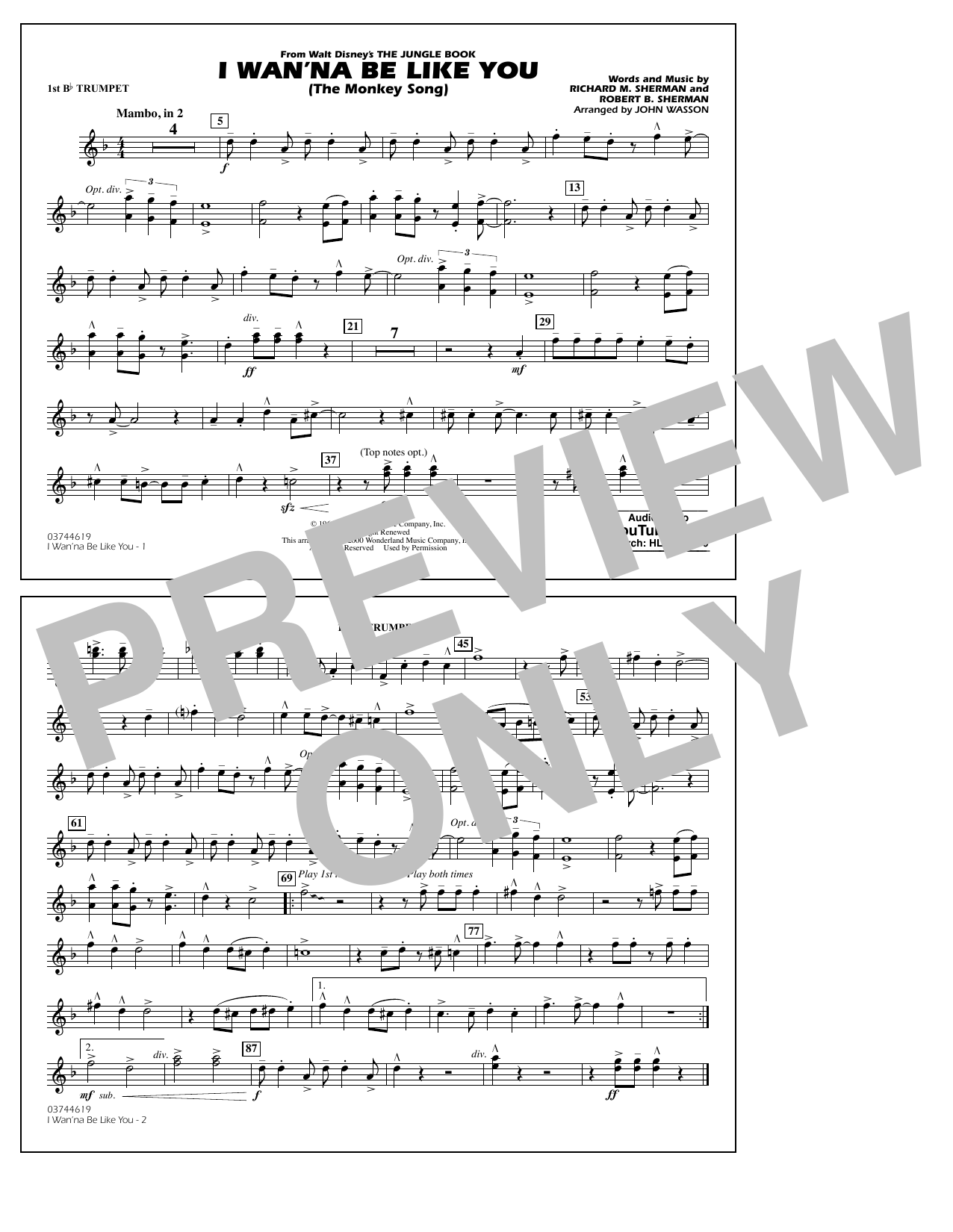 Robert B. Sherman - I Wan'na Be Like You - 1st Bb Trumpet