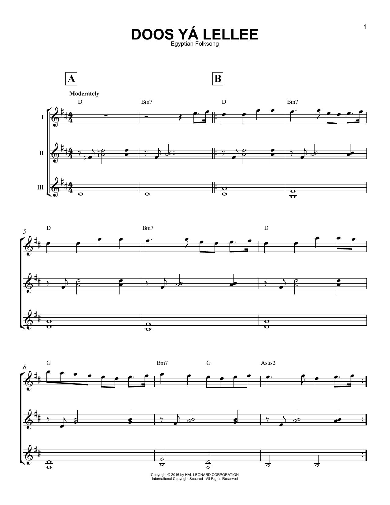 Partition autre Doos Ya Lellee de Egyptian Folksong - Autre
