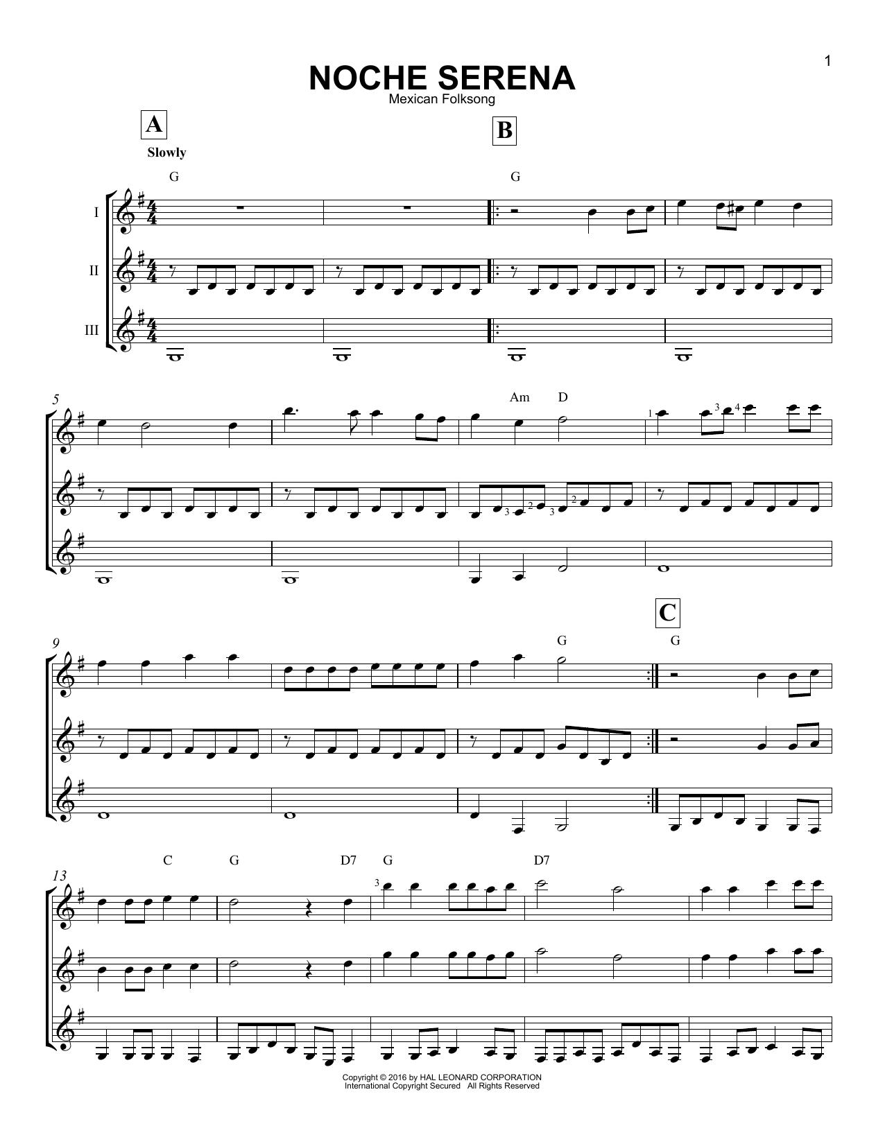 Partition autre Noche Serena de Mexican Folksong - Autre