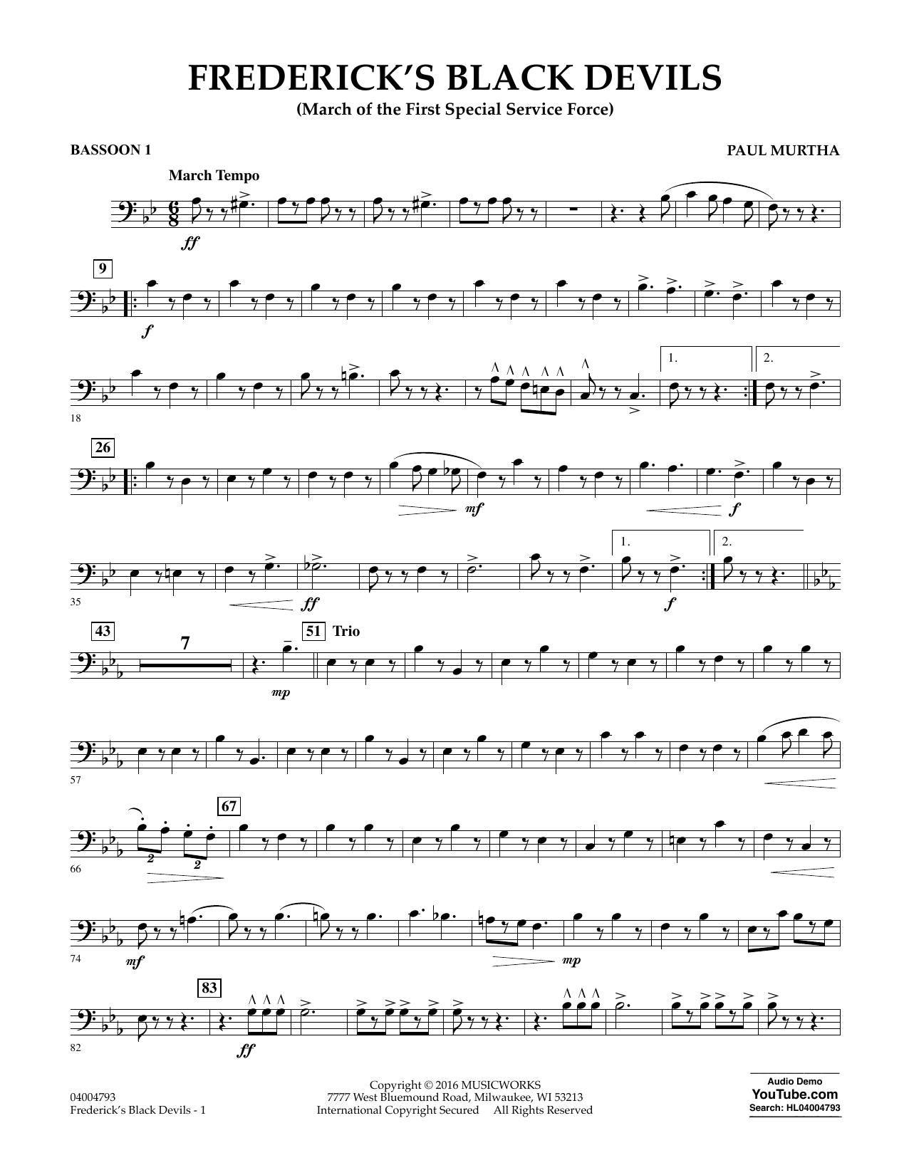 Frederick's Black Devils - Bassoon 1