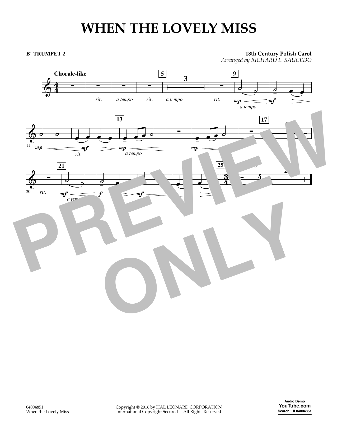 When the Lovely Miss (18th Century Polish Carol) - Bb Trumpet 2