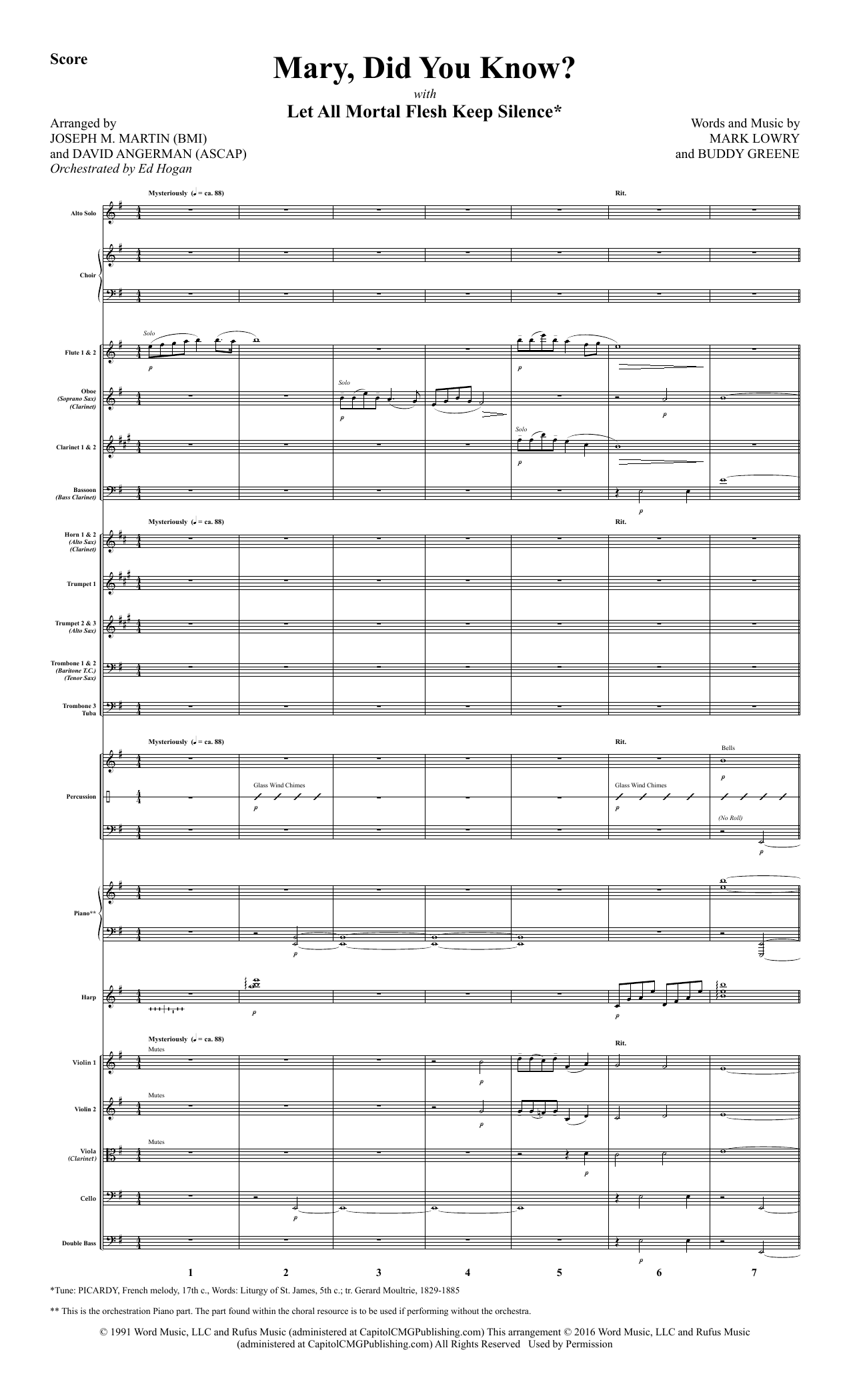 Mary, Did You Know? (COMPLETE) sheet music for orchestra/band by David Angerman