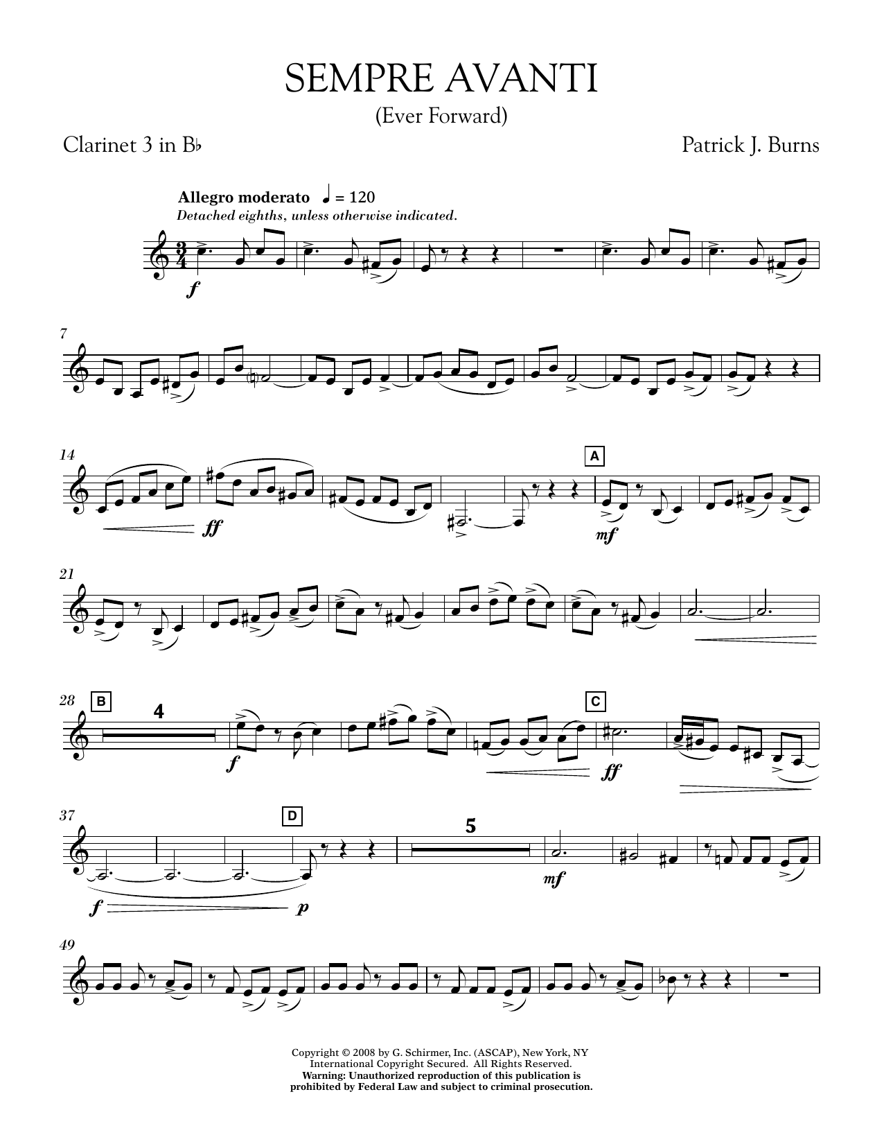 Sempre Avanti - Bb Clarinet 3
