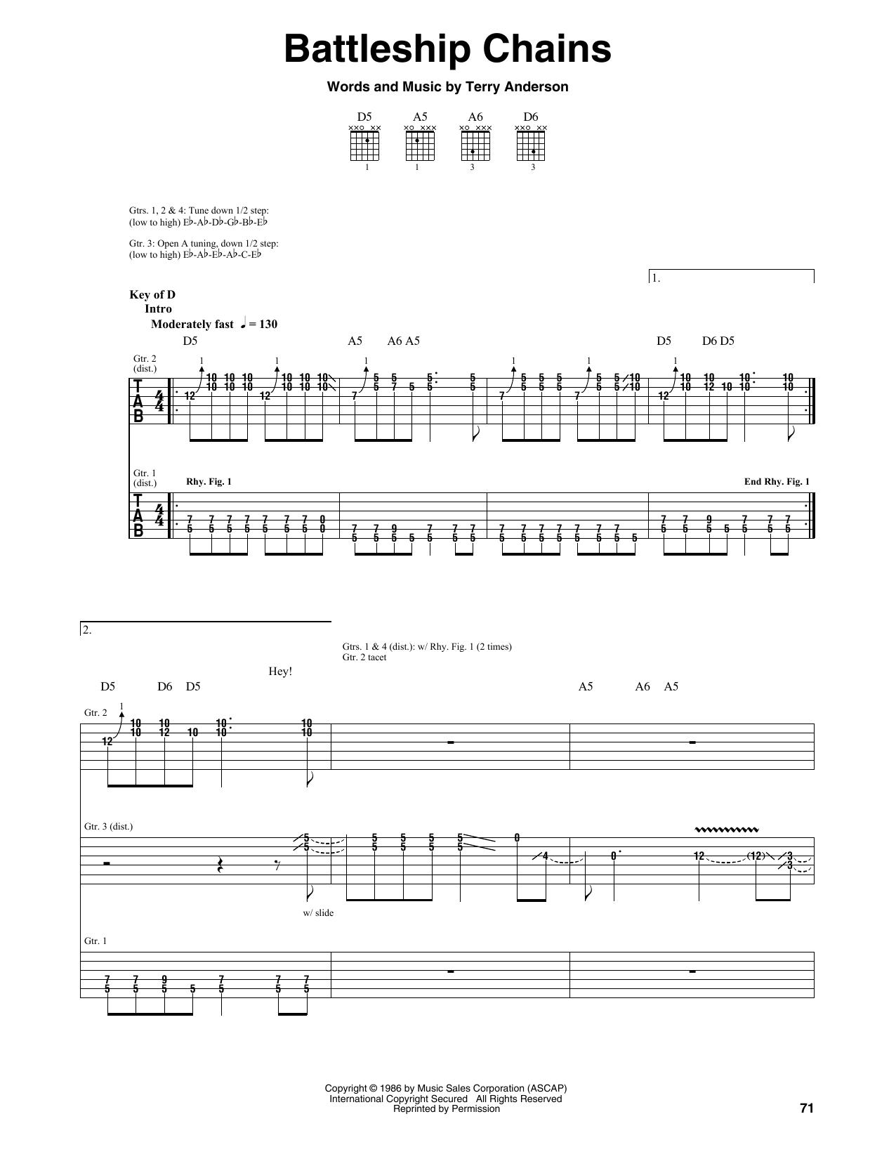 Tablature guitare Battleship Chains de Volbeat - Tablature Guitare