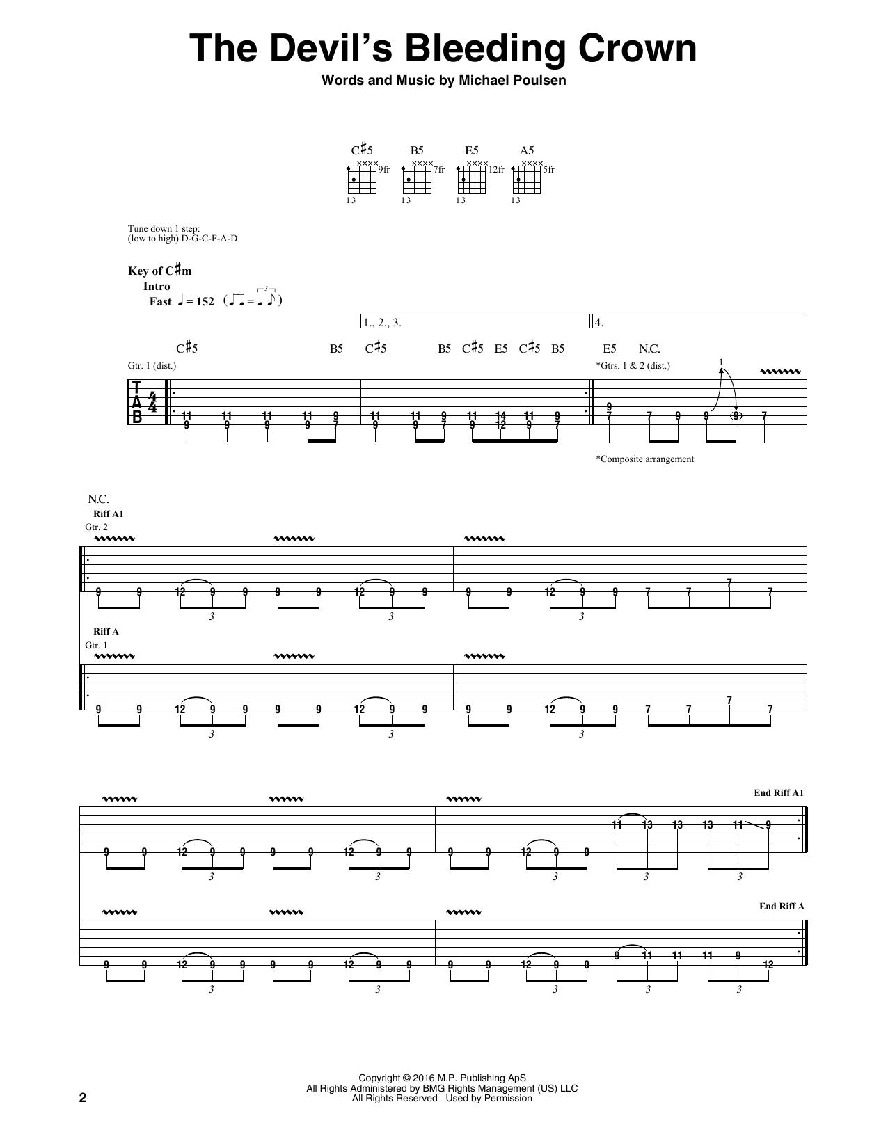 Tablature guitare The Devil's Bleeding Crown de Volbeat - Tablature Guitare