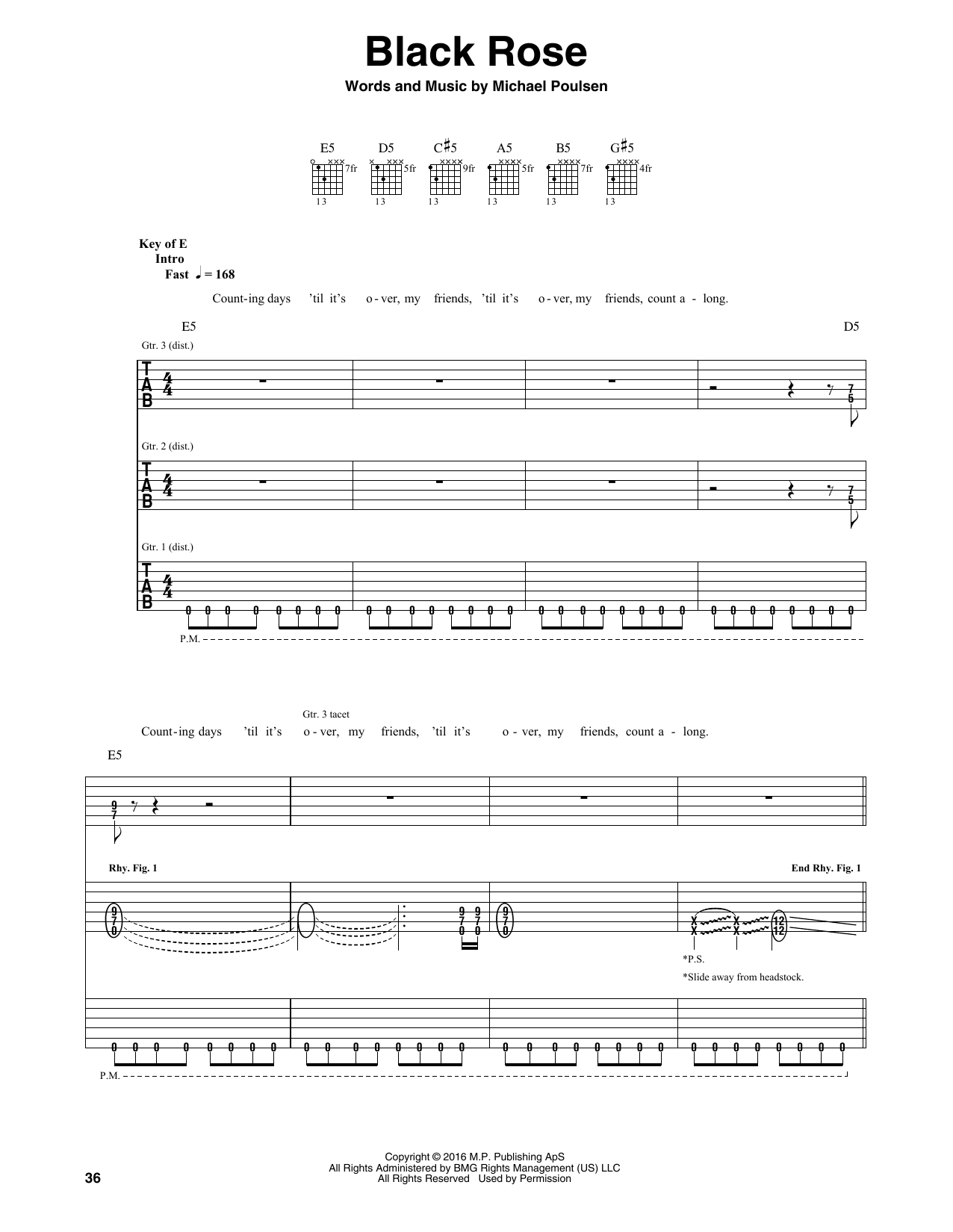 Tablature guitare Black Rose de Volbeat - Tablature Guitare