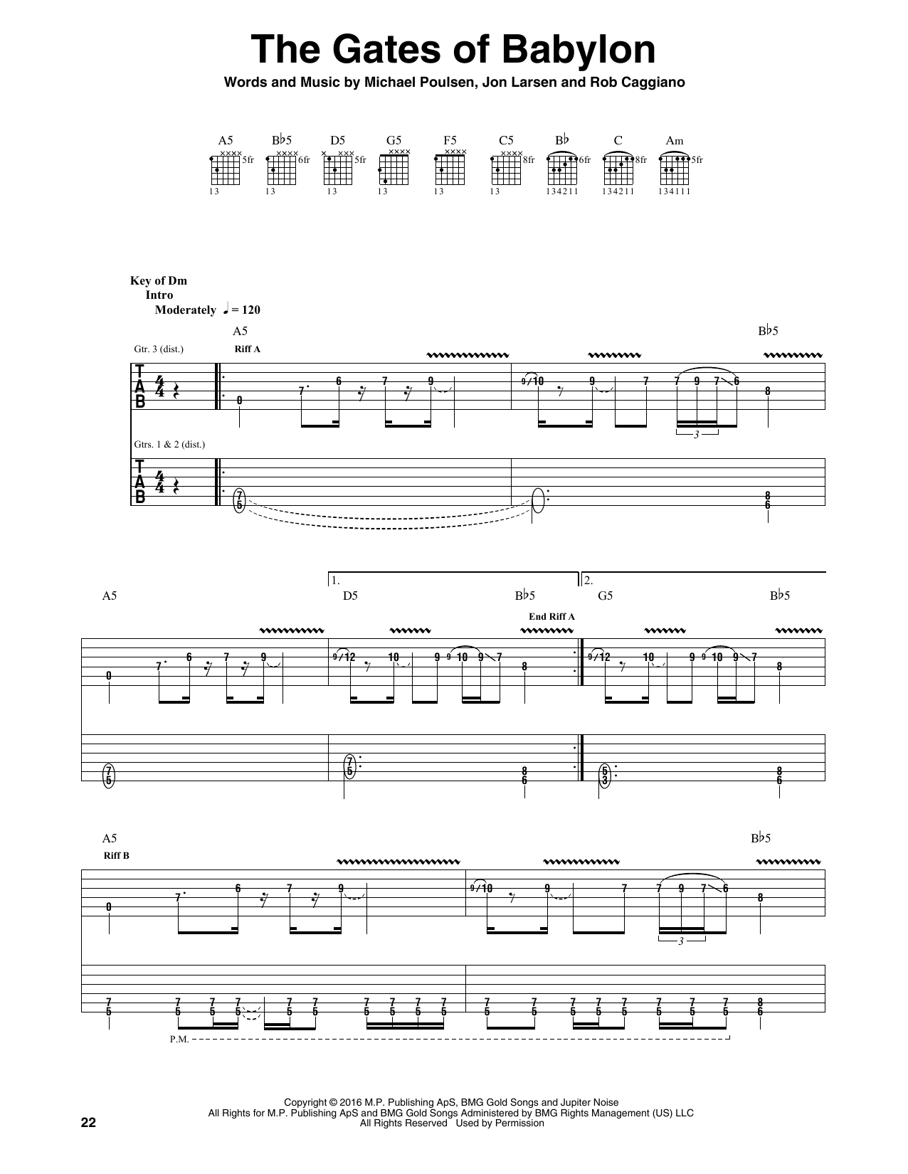 Tablature guitare The Gates Of Babylon de Volbeat - Tablature Guitare