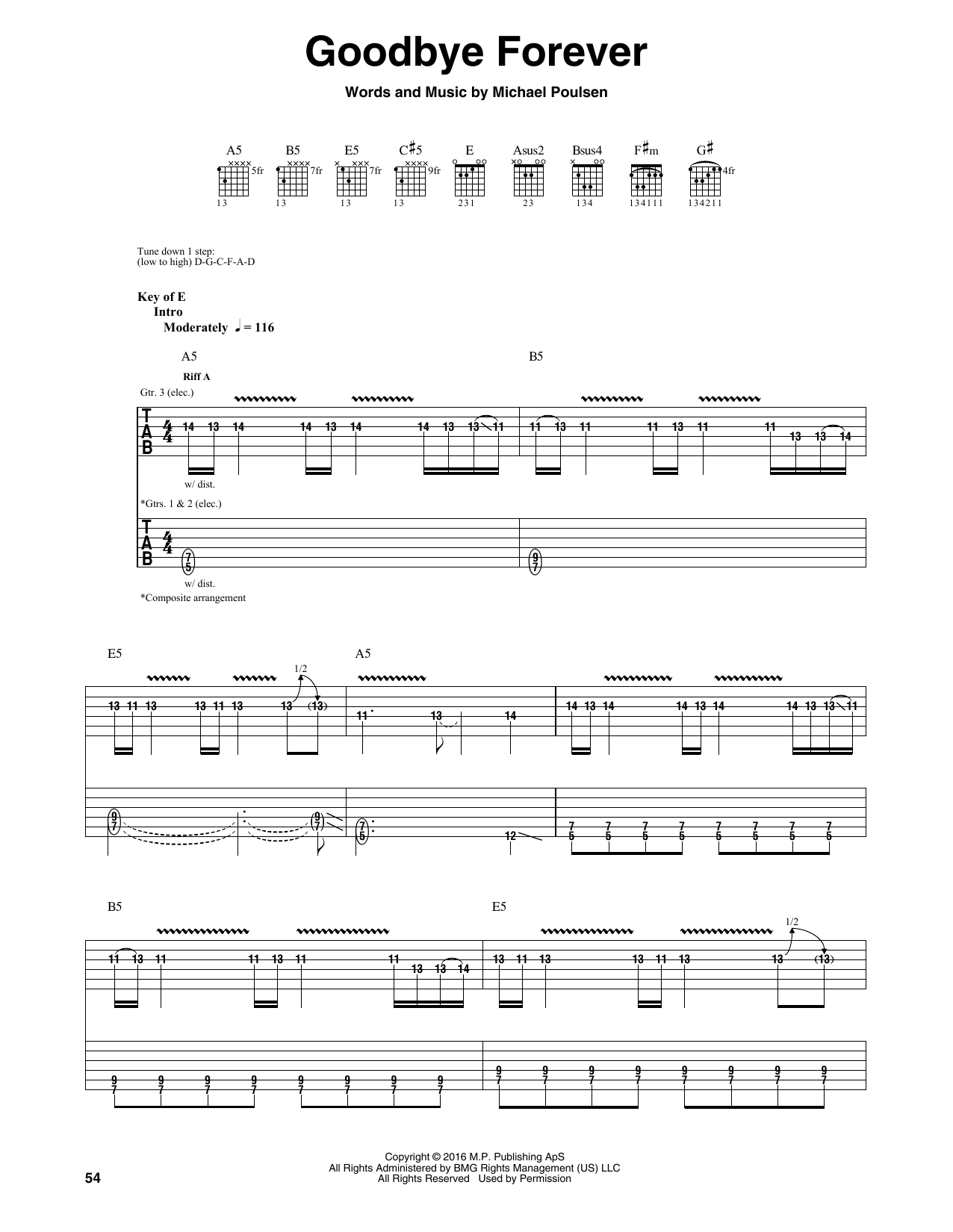 Tablature guitare Goodbye Forever de Volbeat - Tablature Guitare