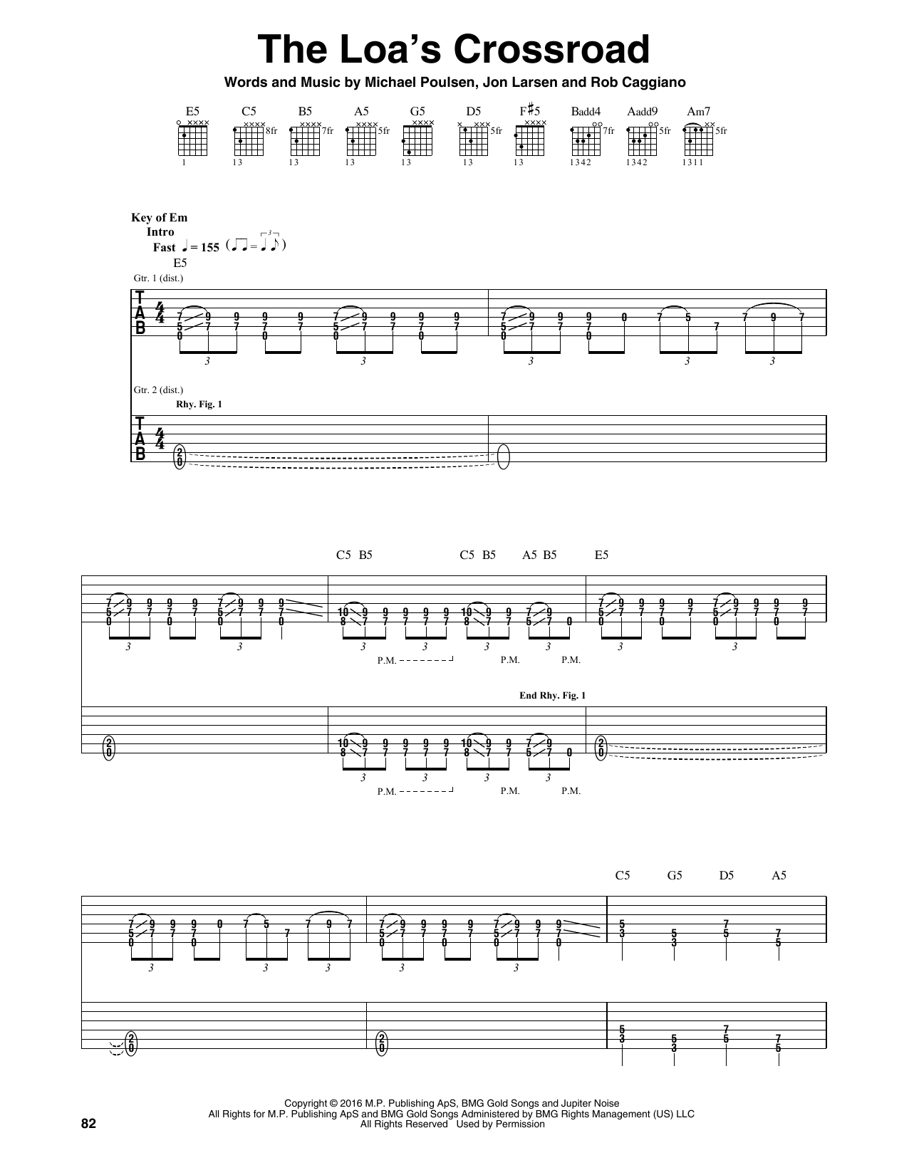 Tablature guitare The Loa's Crossroad de Volbeat - Tablature Guitare