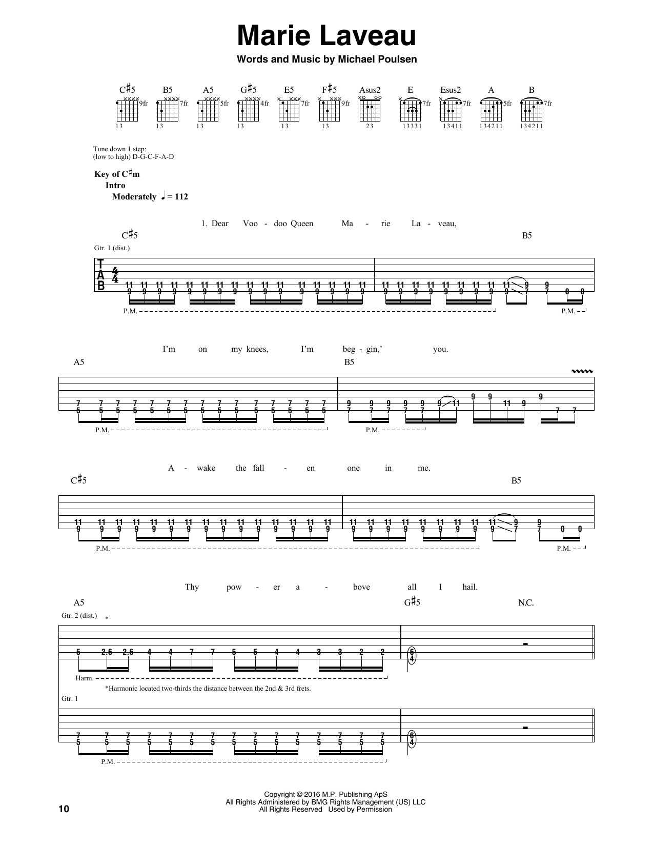 Tablature guitare Marie Laveau de Volbeat - Tablature Guitare