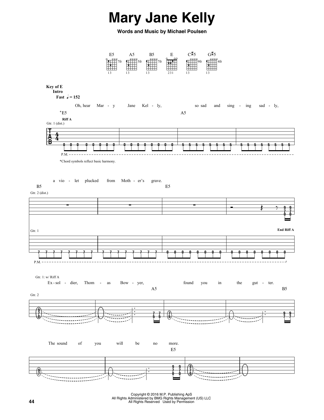 Tablature guitare Mary Jane Kelly de Volbeat - Tablature Guitare