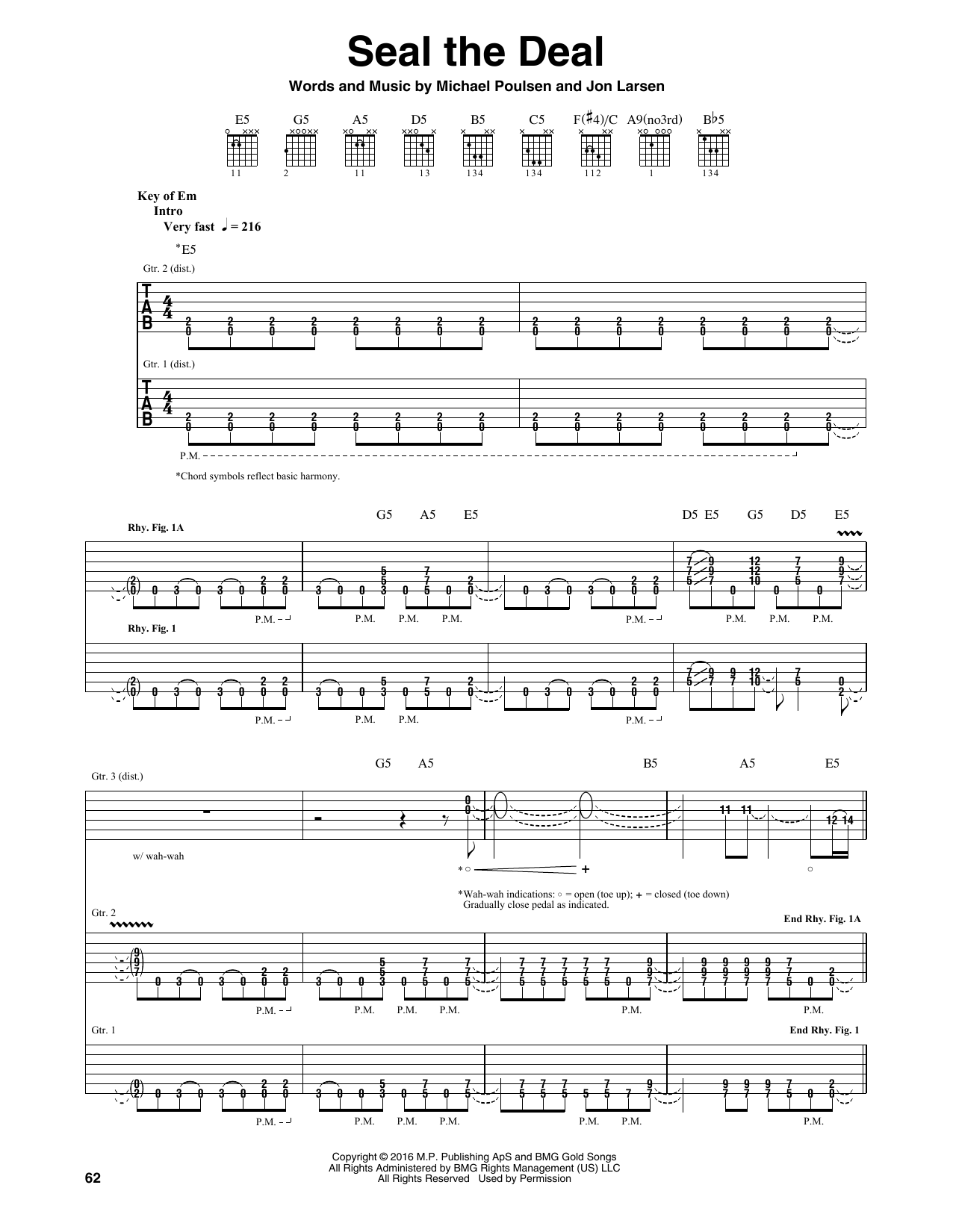 Tablature guitare Seal The Deal de Volbeat - Tablature Guitare