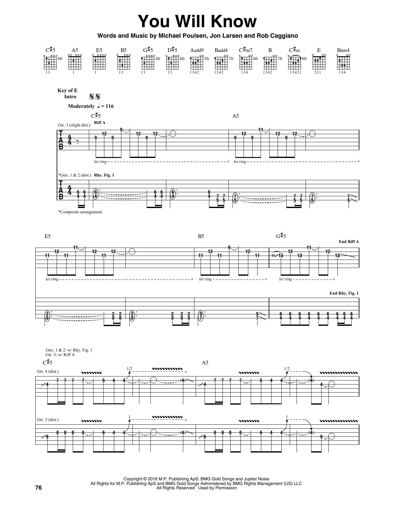 Tablature guitare You Will Know de Volbeat - Tablature Guitare