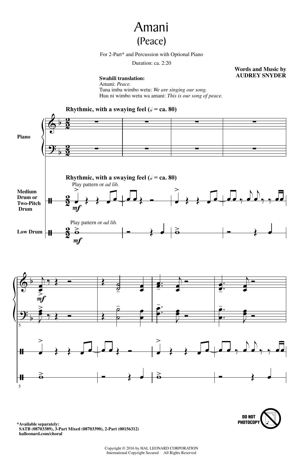 Partition chorale Amani (Peace) de Audrey Snyder - 2 voix