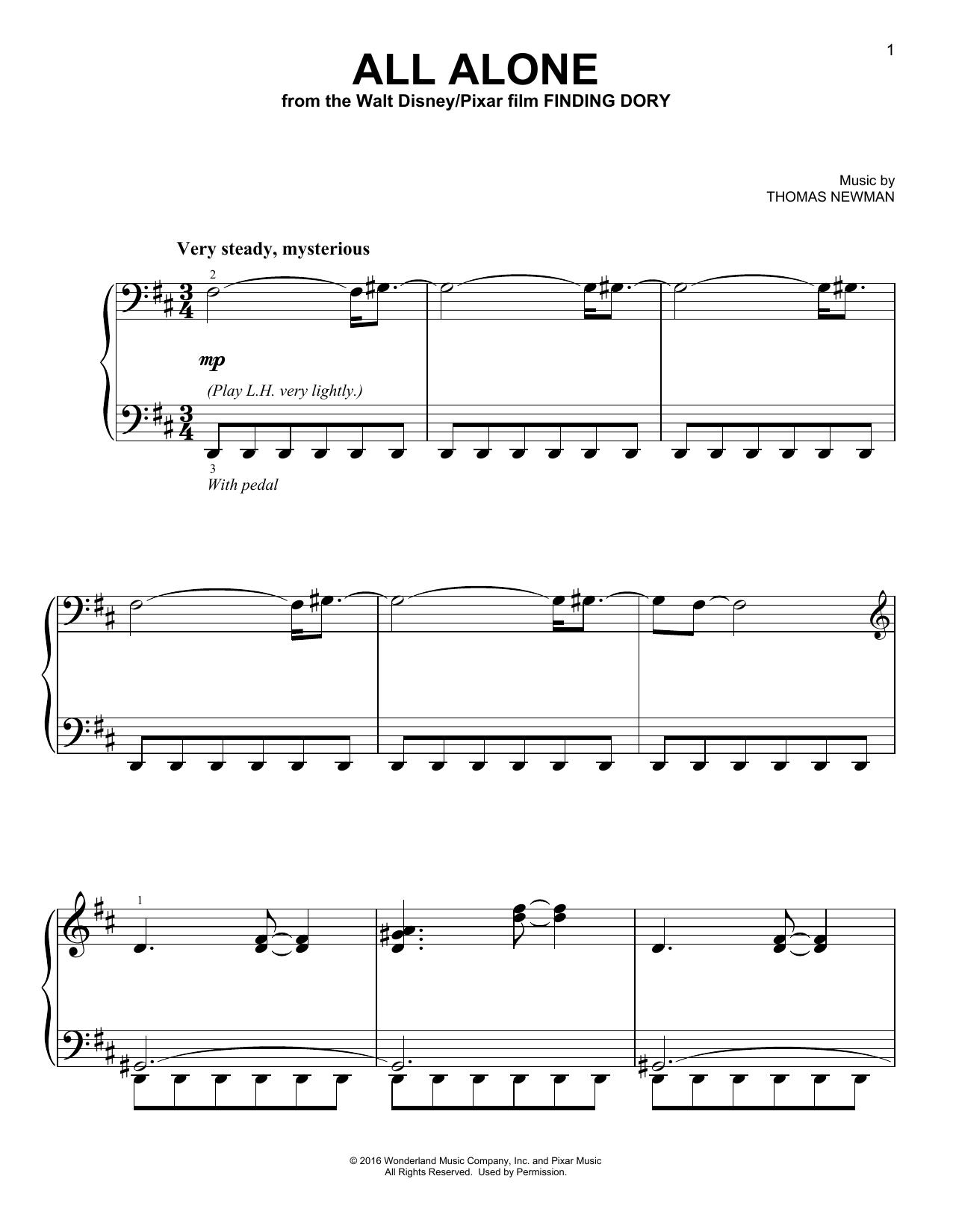 Partition piano All Alone de Thomas Newman - Piano Facile