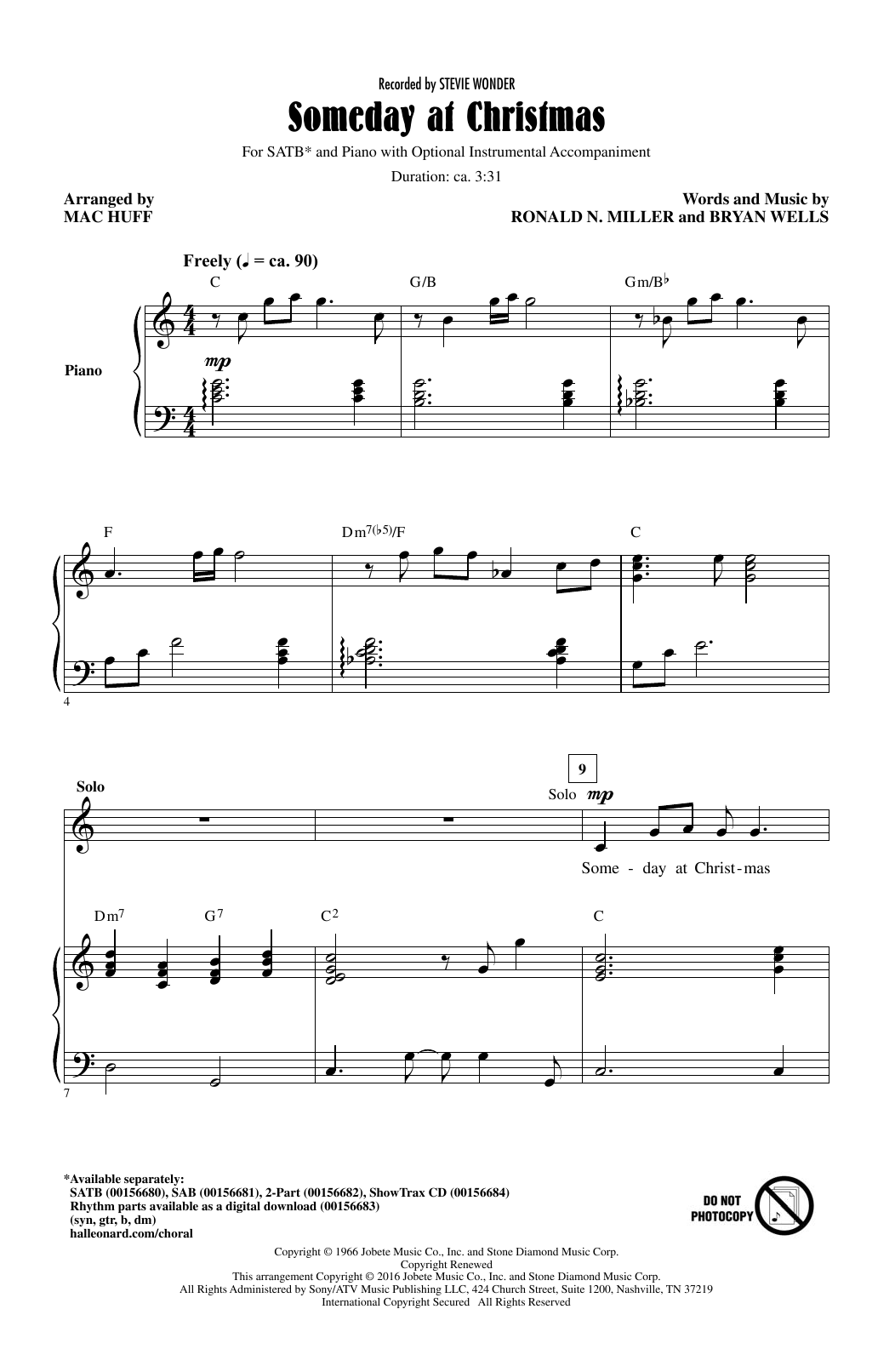 Partition chorale Someday At Christmas de Stevie Wonder - SATB