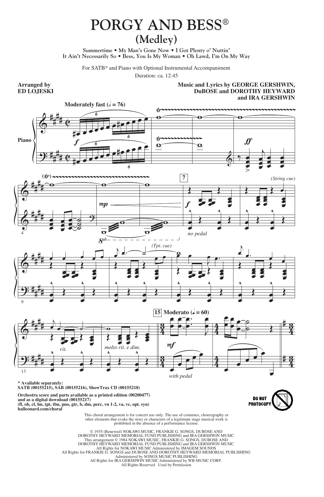 Partition chorale Porgy And Bess (Medley) de DuBose Heyward - SATB