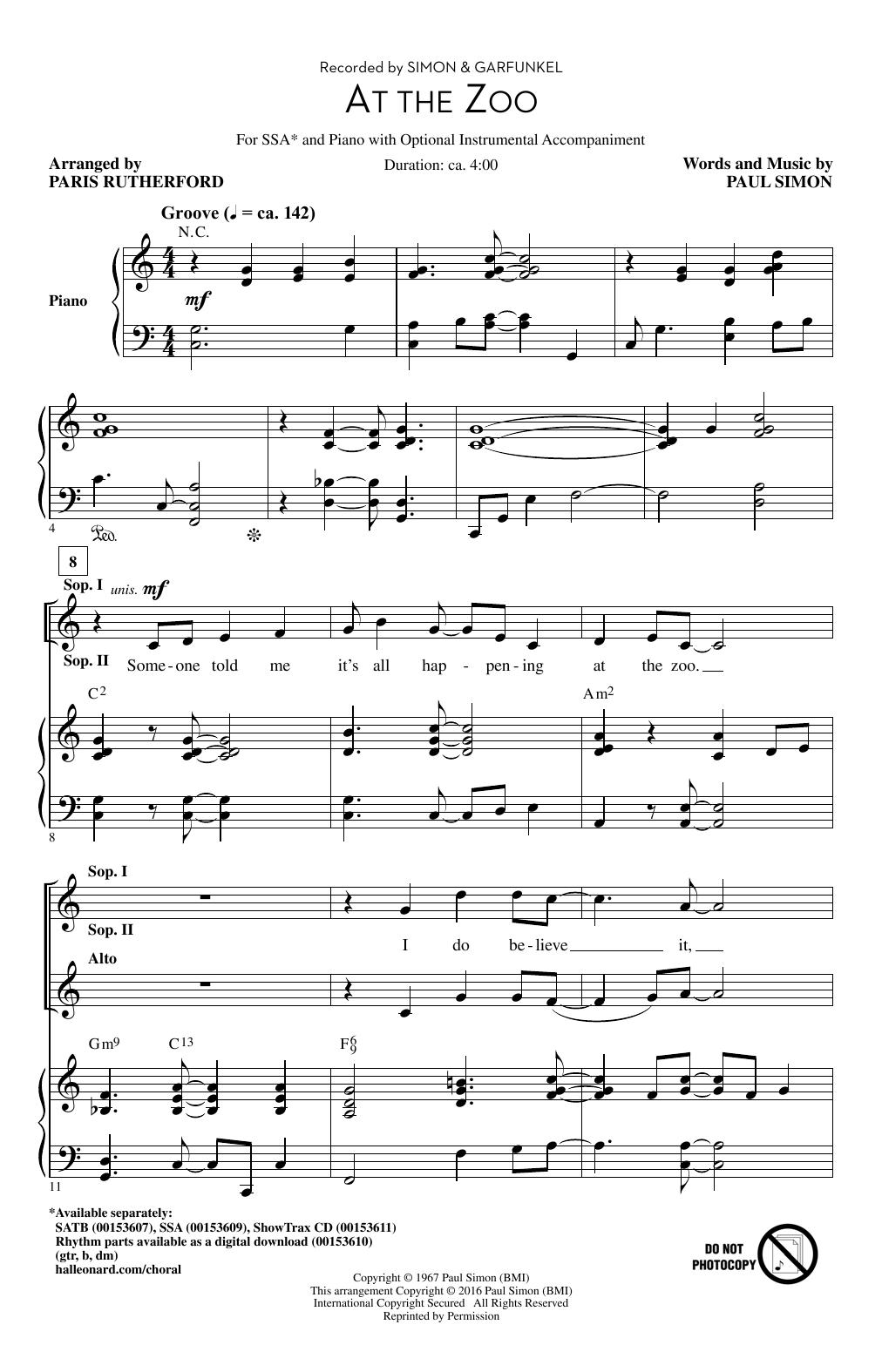 Partition chorale At The Zoo de Paul Simon - SSA