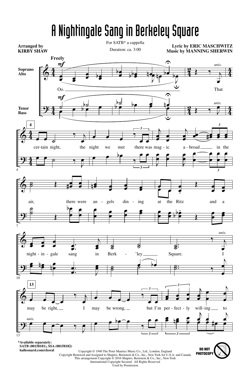 Partition chorale A Nightingale Sang In Berkeley Square de Manning Sherwin - SATB
