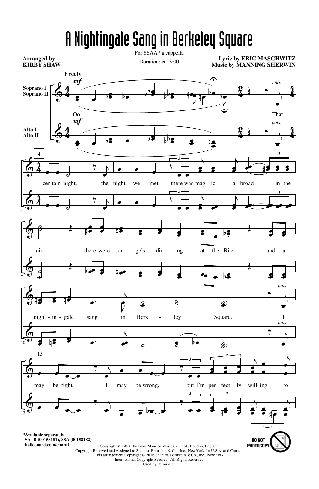 Partition chorale A Nightingale Sang In Berkeley Square de Manning Sherwin - SSA