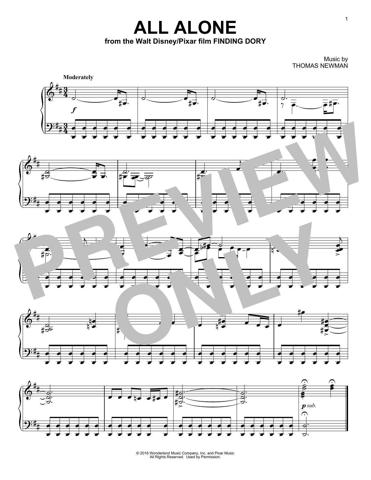 Partition piano All Alone de Thomas Newman - Piano Solo