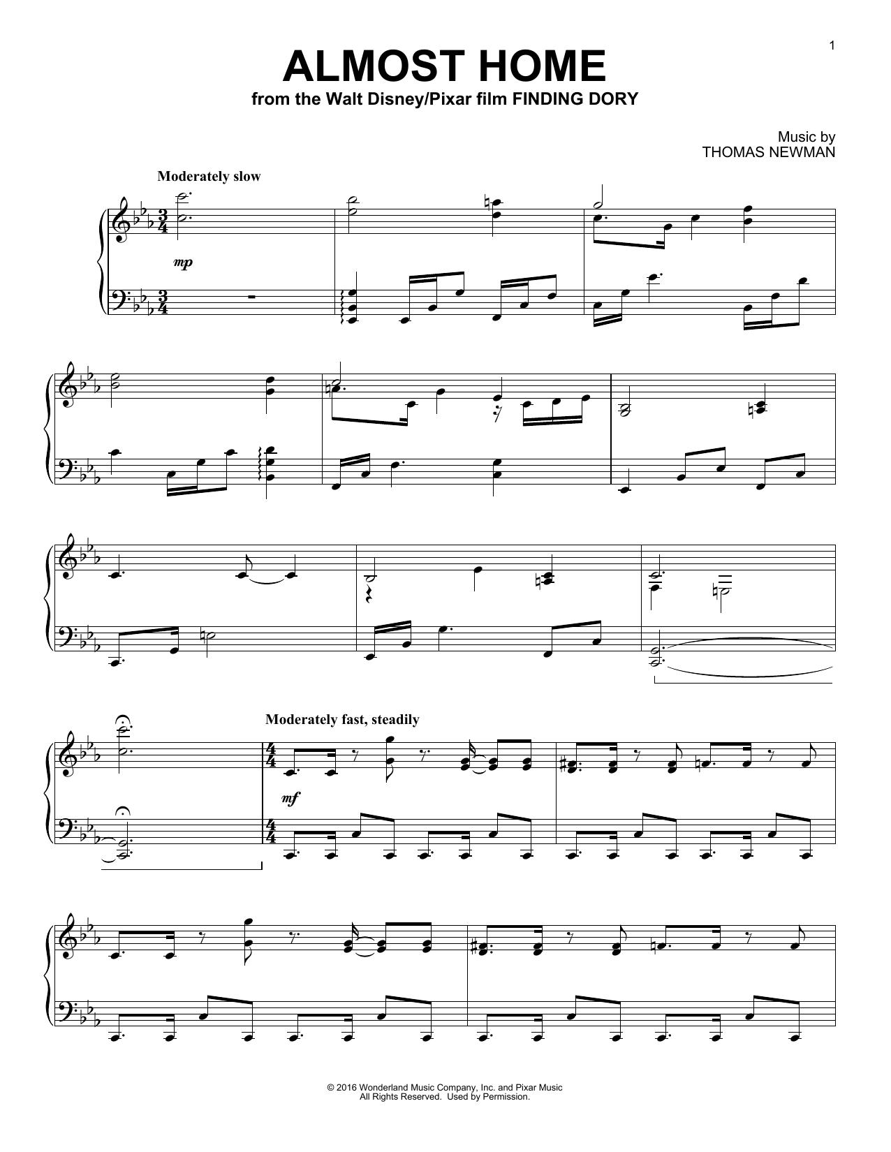 Partition piano Almost Home de Thomas Newman - Piano Solo