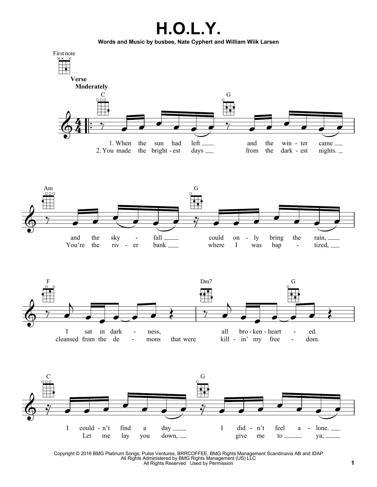 Tablature guitare H.O.L.Y. de Florida Georgia Line - Ukulele