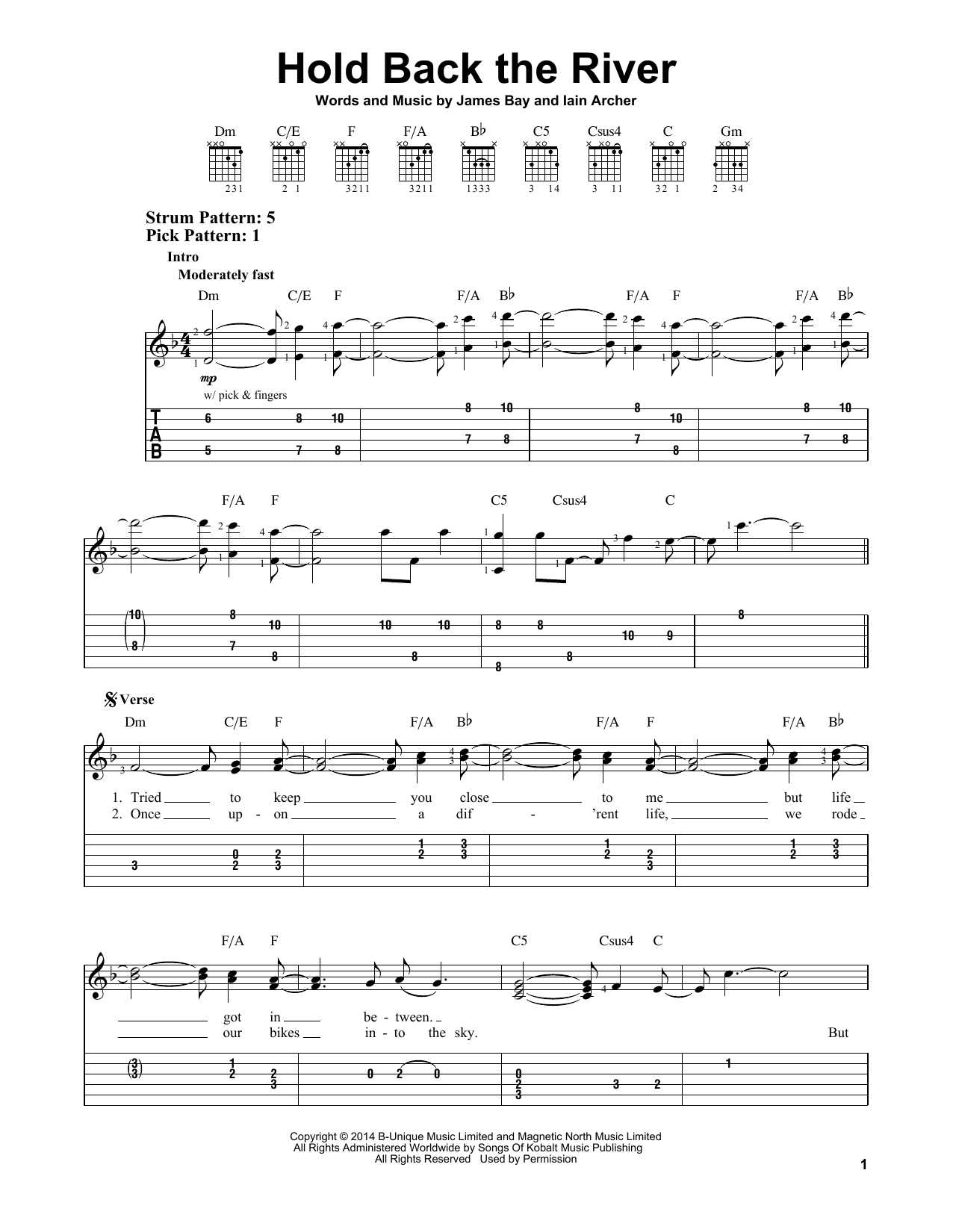 Tablature guitare Hold Back The River de James Bay - Tablature guitare facile