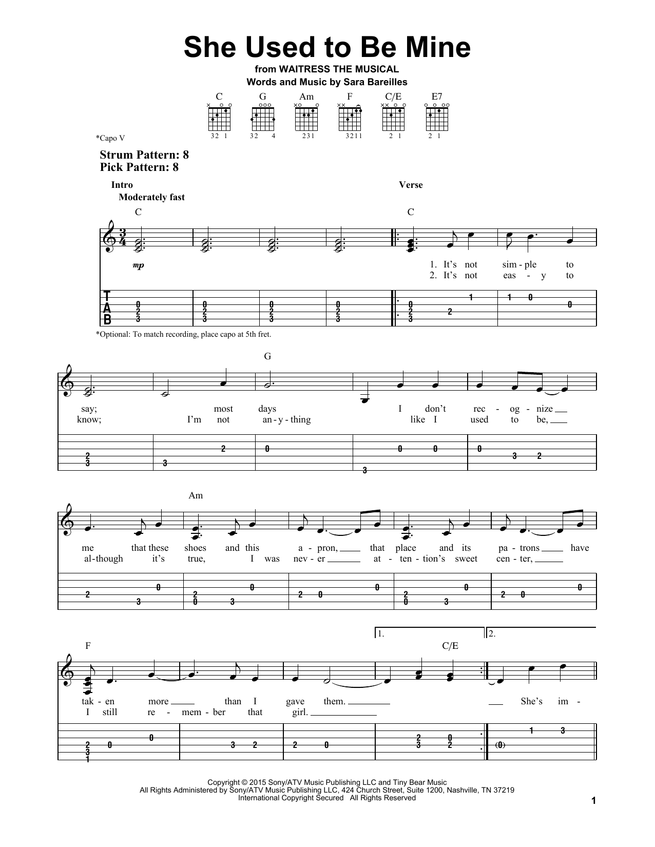 Tablature guitare She Used To Be Mine de Sara Bareilles - Tablature guitare facile